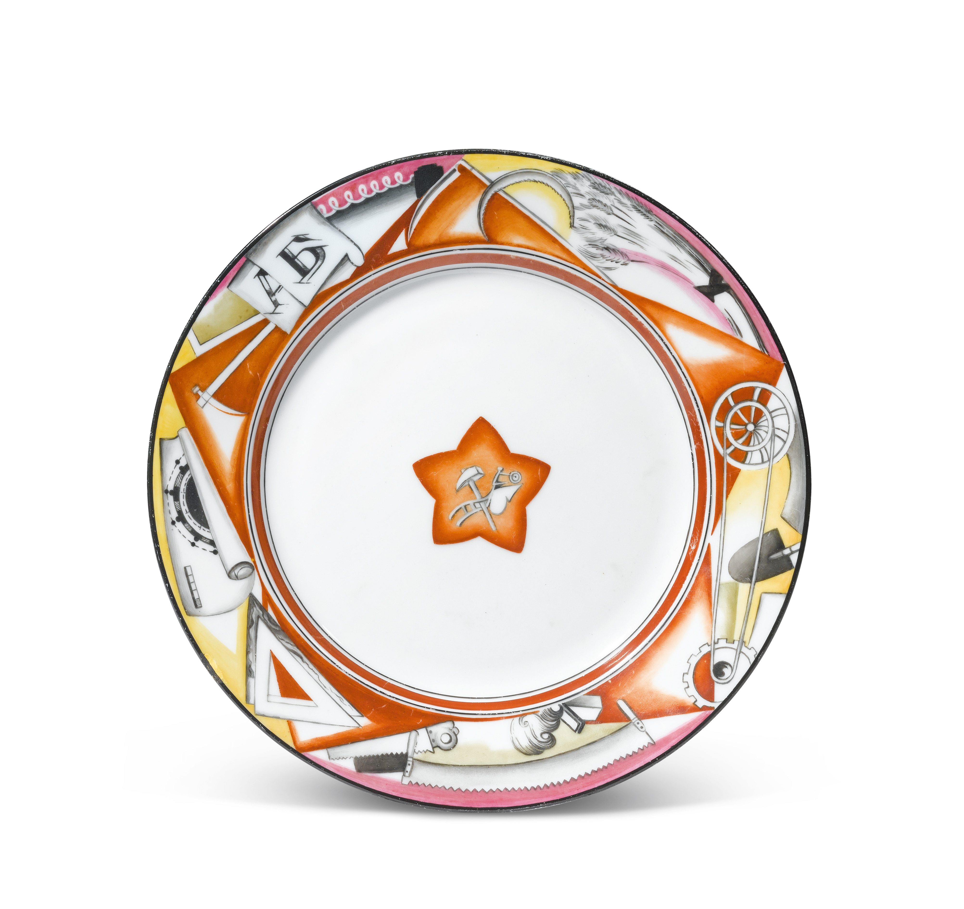 View full screen - View 1 of Lot 357.  Red Star: A Soviet porcelain plate, State Porcelain Factory, Petrograd, 1921.