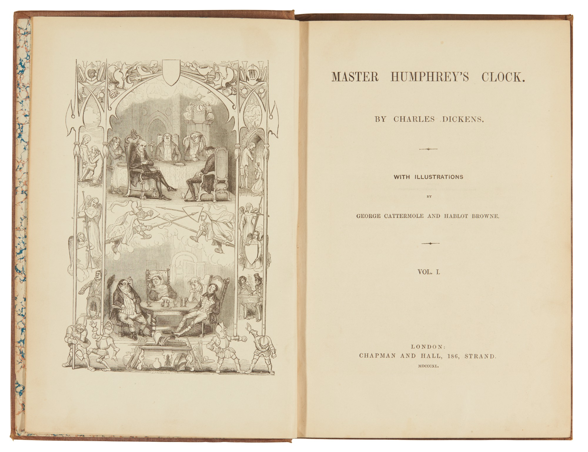 Dickens, Master Humphrey's Clock, 1840-41, first edition in book form, bound from the weekly parts, variant binding