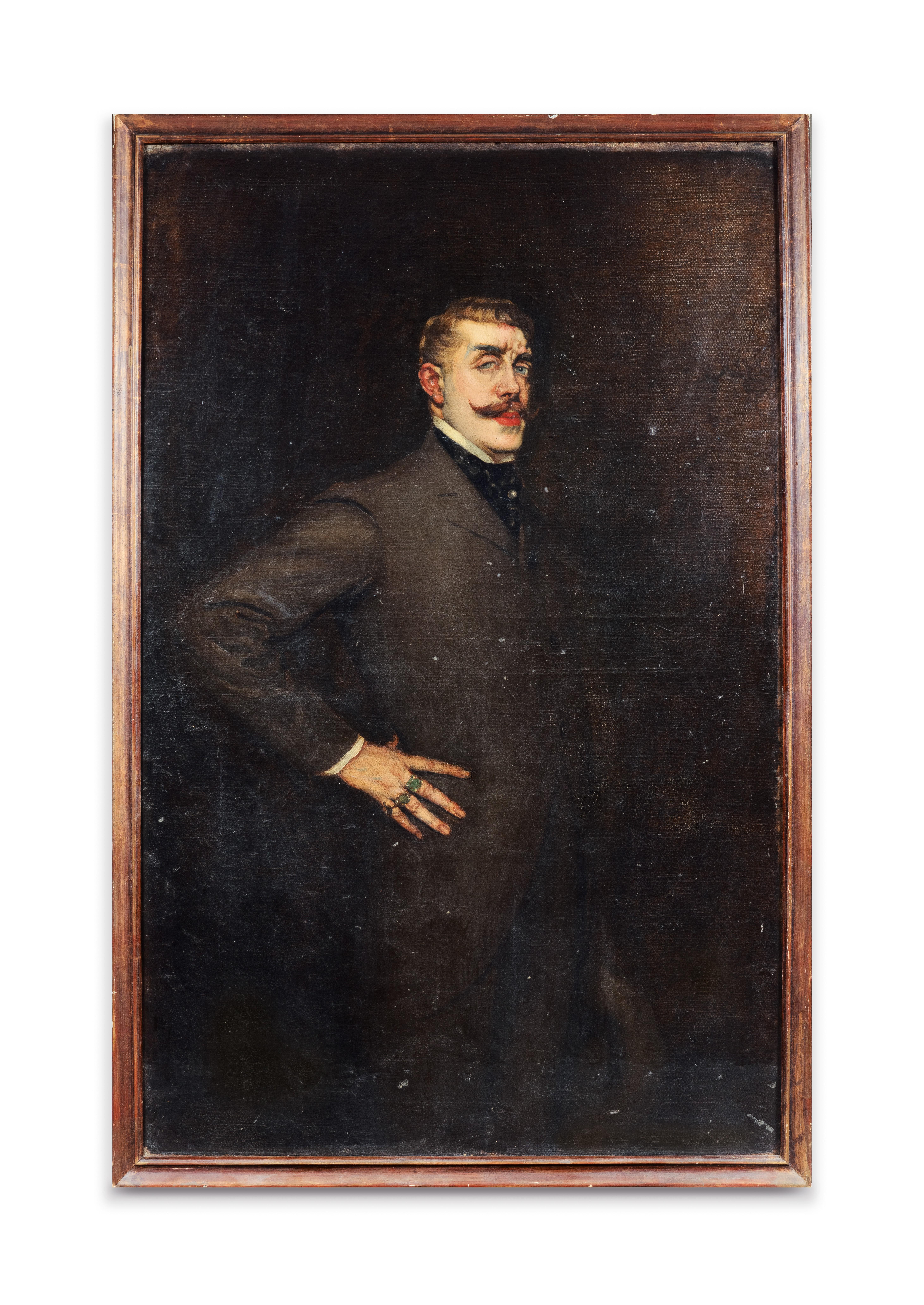 View full screen - View 1 of Lot 60. LA GANDARA. Portrait de Jean Lorrain. [1902]. Huile sur toile. de la collection personnelle de La Gandara..