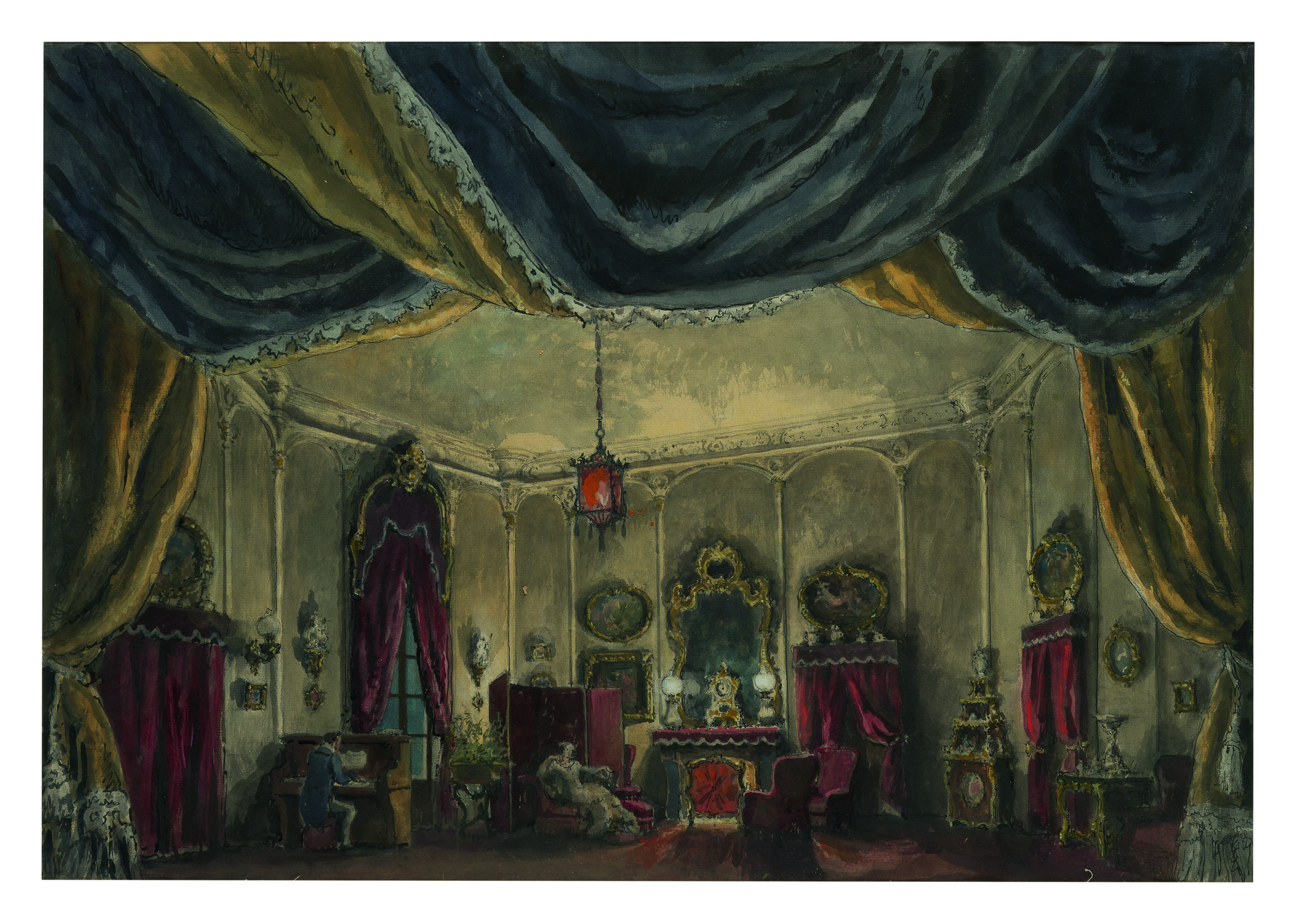 ALEXANDRE BENOIS | SET DESIGN FOR DAME AUX CAMELIAS: ACT I