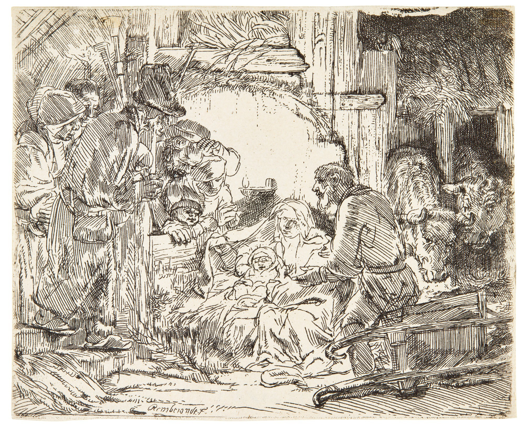 REMBRANDT HARMENSZ. VAN RIJN | THE ADORATION OF THE SHEPHERDS: WITH THE LAMP (B., HOLL. 45; NEW HOLL. 279; H. 273)