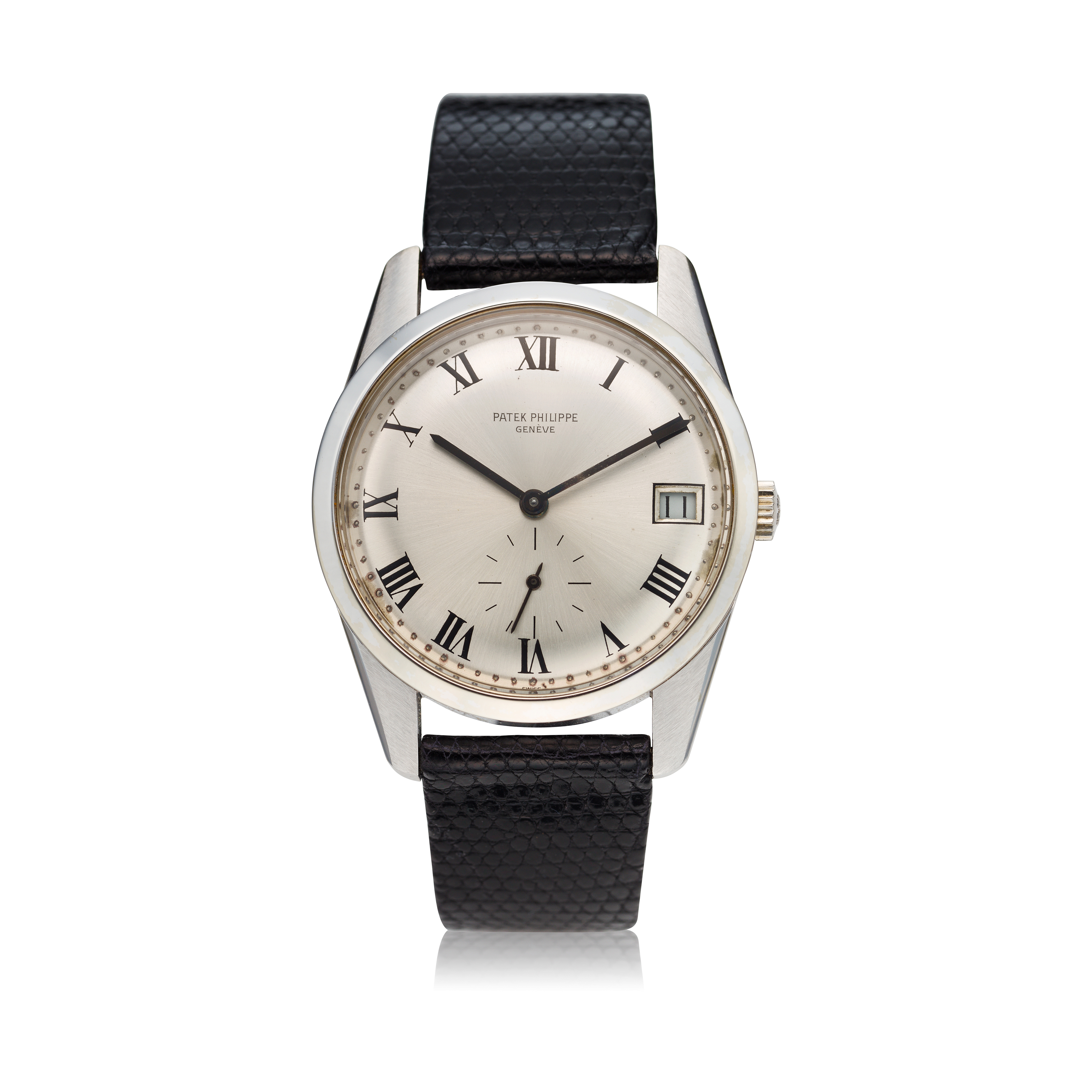 View full screen - View 1 of Lot 235. Reference 3558G A white gold wristwatch with date, Made in 1971 .