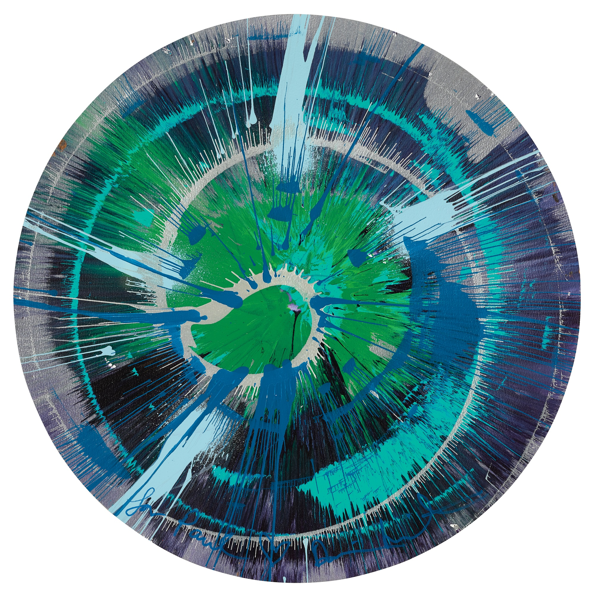 DAMIEN HIRST |  BEAUTIFUL EXPLODING BLUEBERRY SUNDAE SPIN PAINTING FOR PAUL