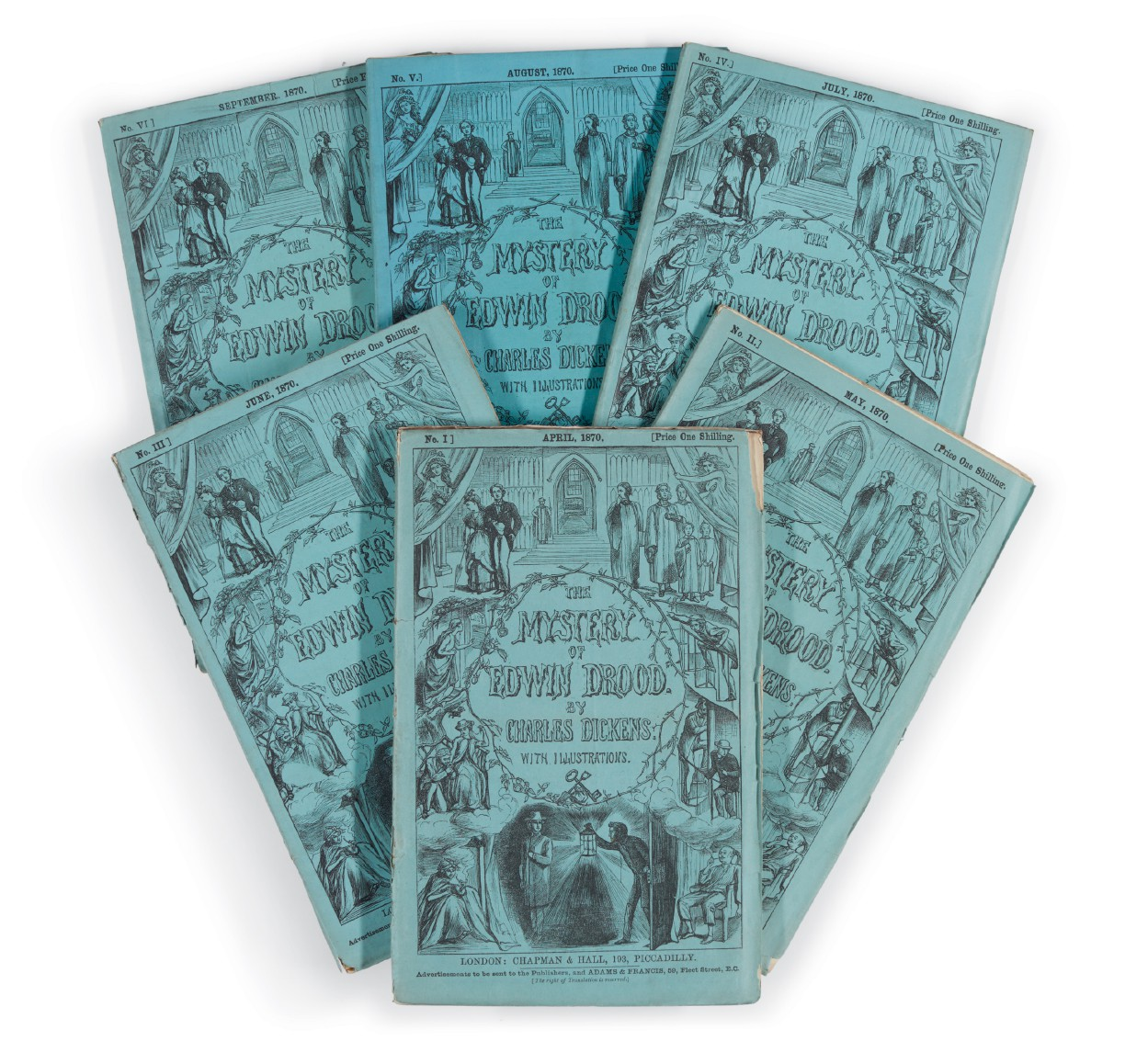 Dickens, The Mystery of Edwin Drood, 1870, first edition, first issue in original 6 parts
