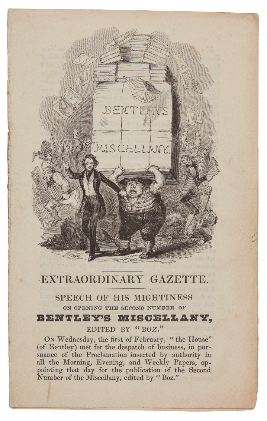 Dickens, The Extraordinary Gazette, 1837, Bentley's Miscellany, separately issued smaller size format