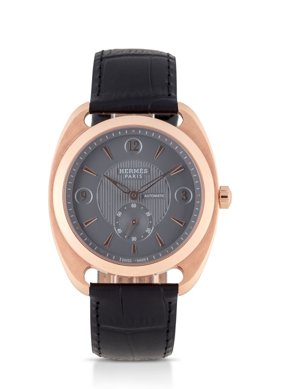 View full screen - View 1 of Lot 98. HERMÈS | DRESSAGE, REF DR5.77C LIMITED EDITION PINK GOLD WRISTWATCH CIRCA 2012.