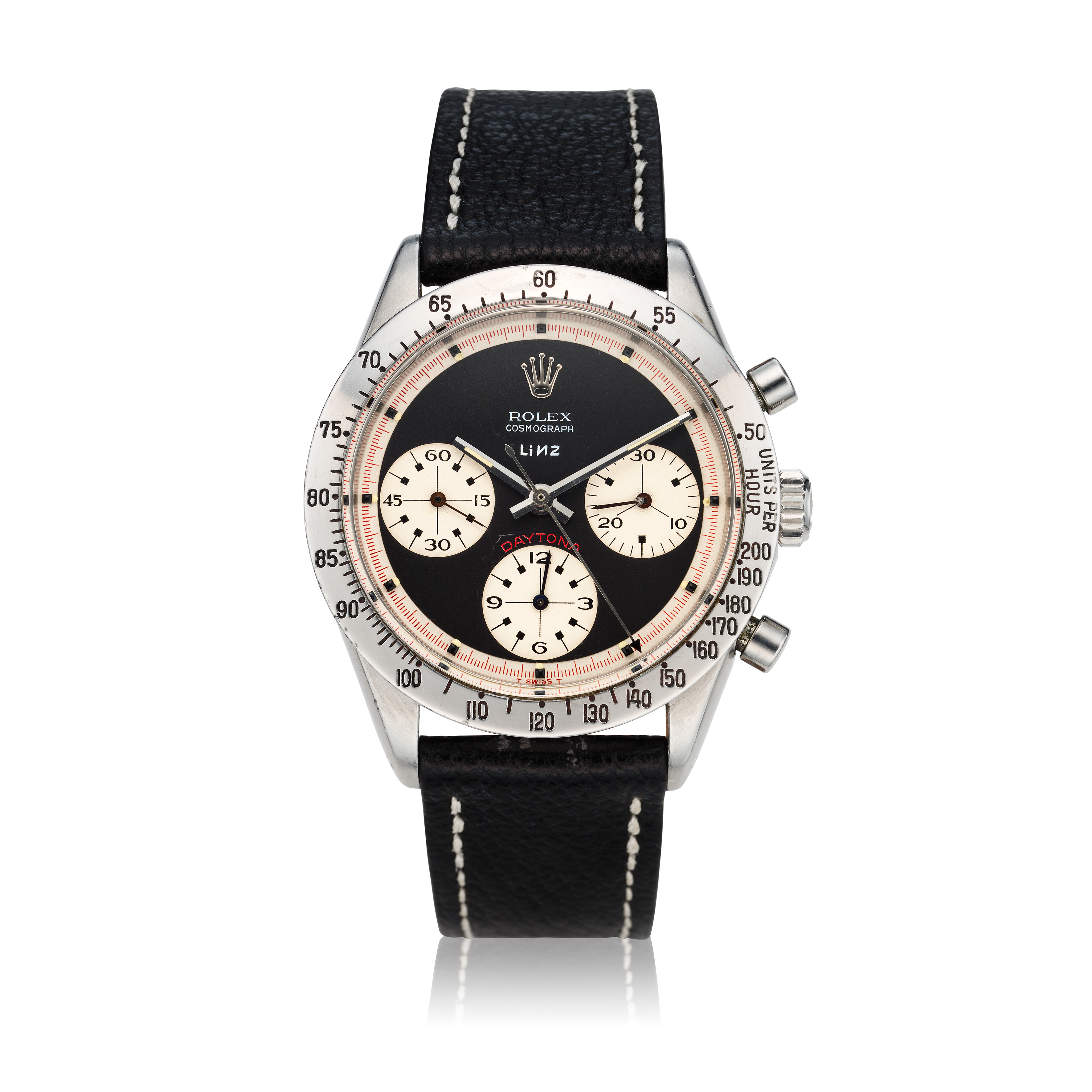 View full screen - View 1 of Lot 280. Reference 6239 'Paul Newman' Daytona  Retailed by Linz Brothers: A stainless steel chronograph wristwatch, Circa 1968 .