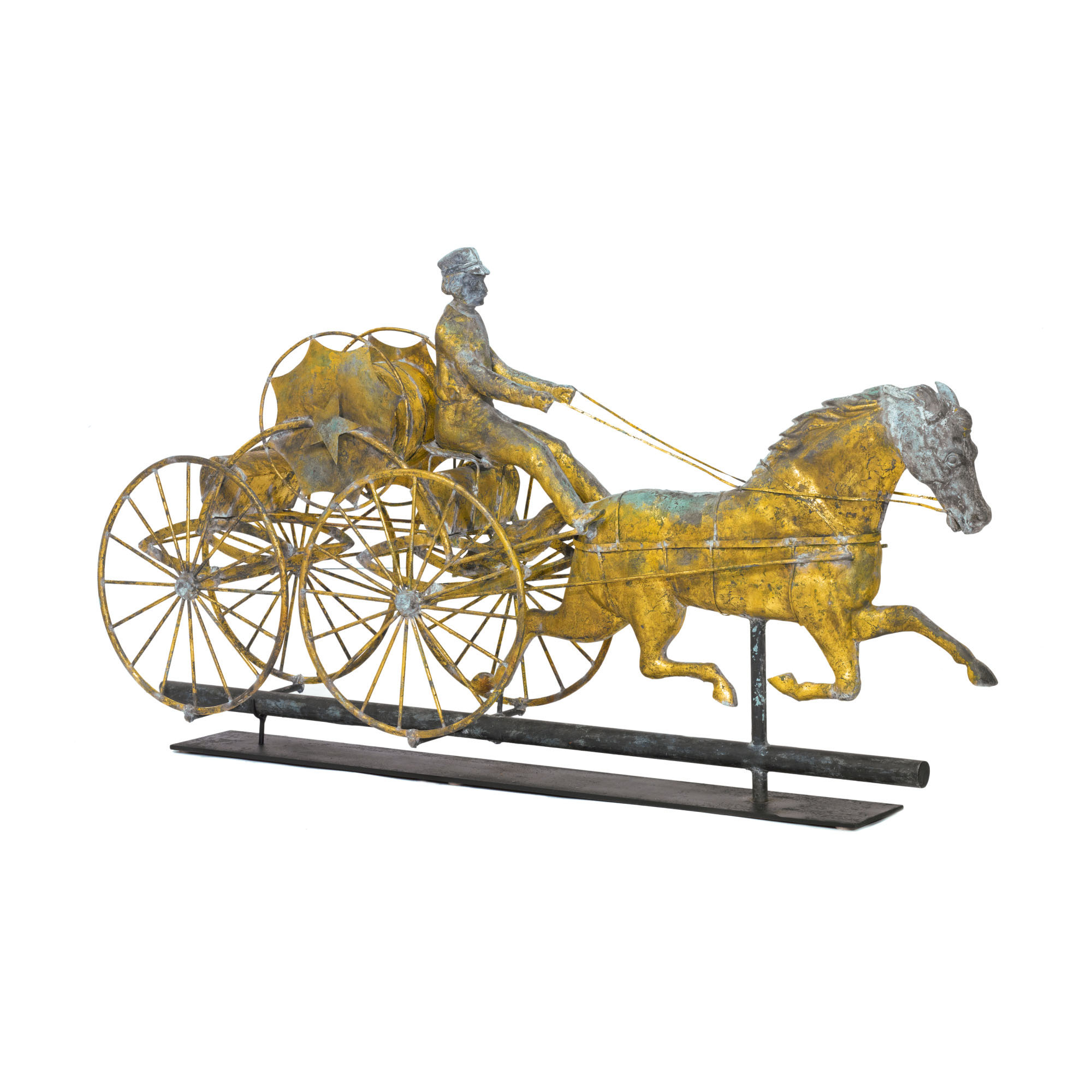 VERY FINE AND RARE GILT MOLDED SHEET COPPER AND ZINC FIRE PUMPER AND HORSE WEATHERVANE, B. HARRIS & CO, BOSTON, MASSACHUSETTS, CIRCA 1885