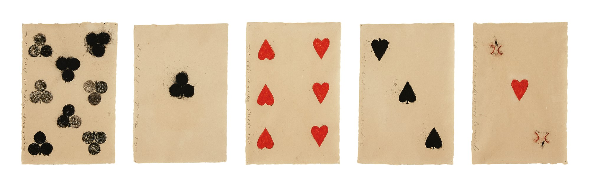 DONALD SULTAN   i. Eight Clubs ii. Club iii. Six Hearts iv. Three Spades v. Queen of Hearts