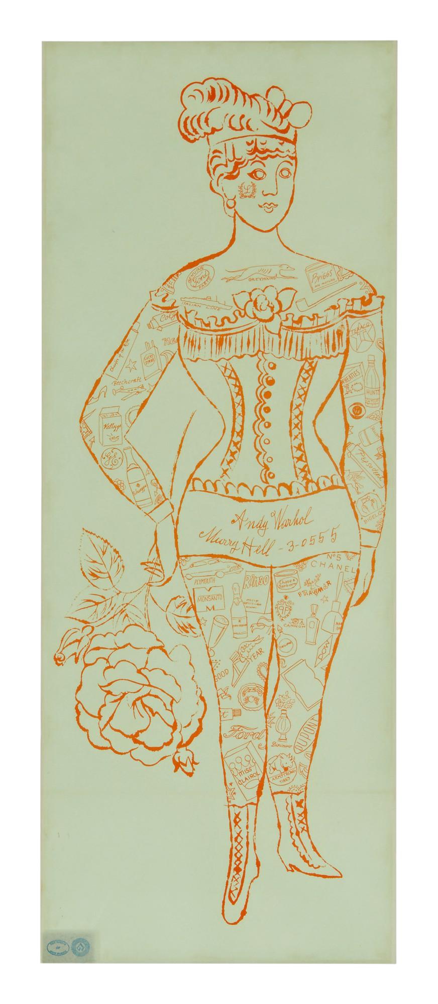 ANDY WARHOL | TATTOOED WOMAN HOLDING ROSE (NOT IN FELDMAN & SCHELLMANN)