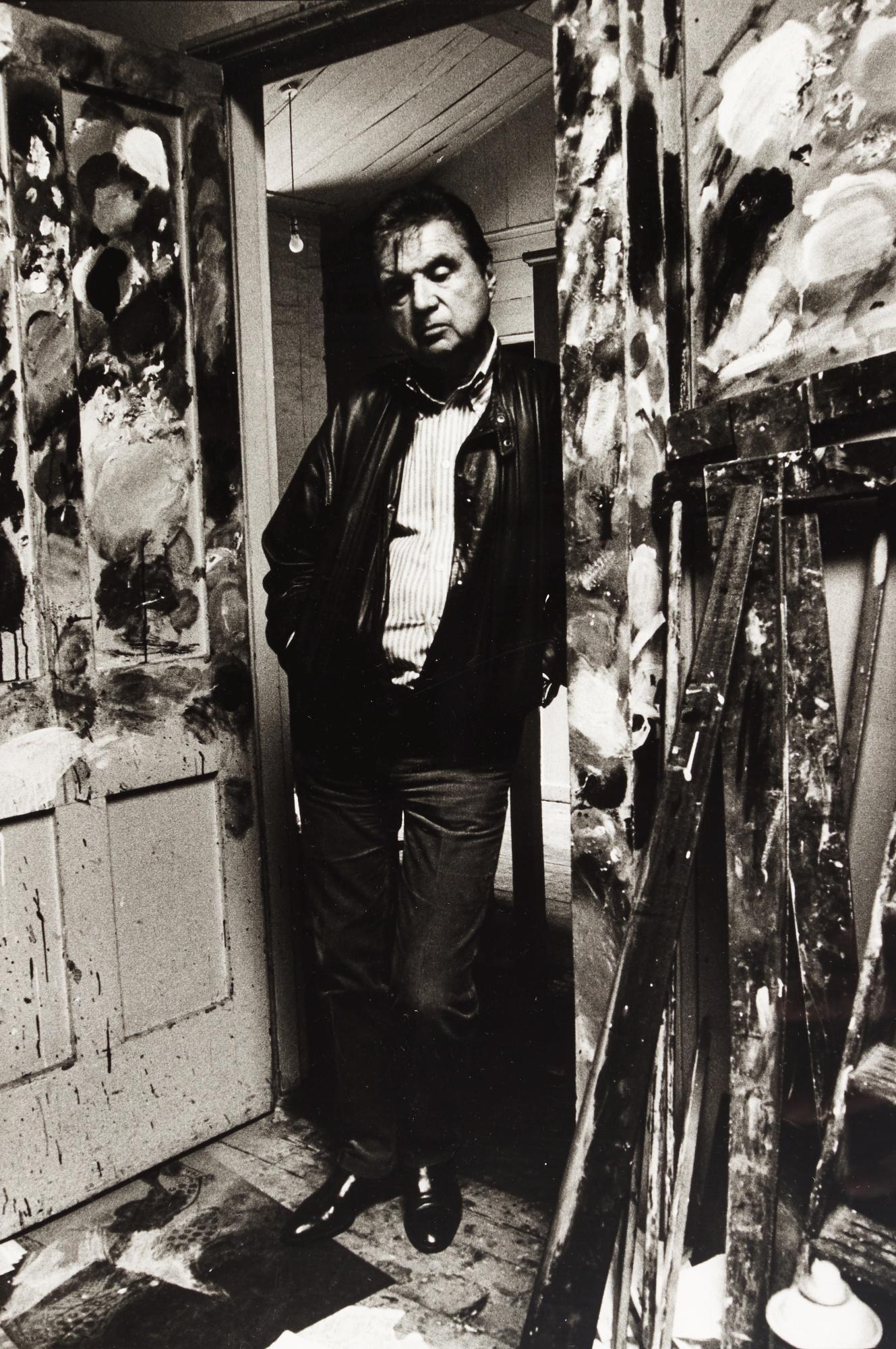 BRUCE BERNARD | FRANCIS BACON IN THE DOORWAY OF HIS STUDIO, 1984