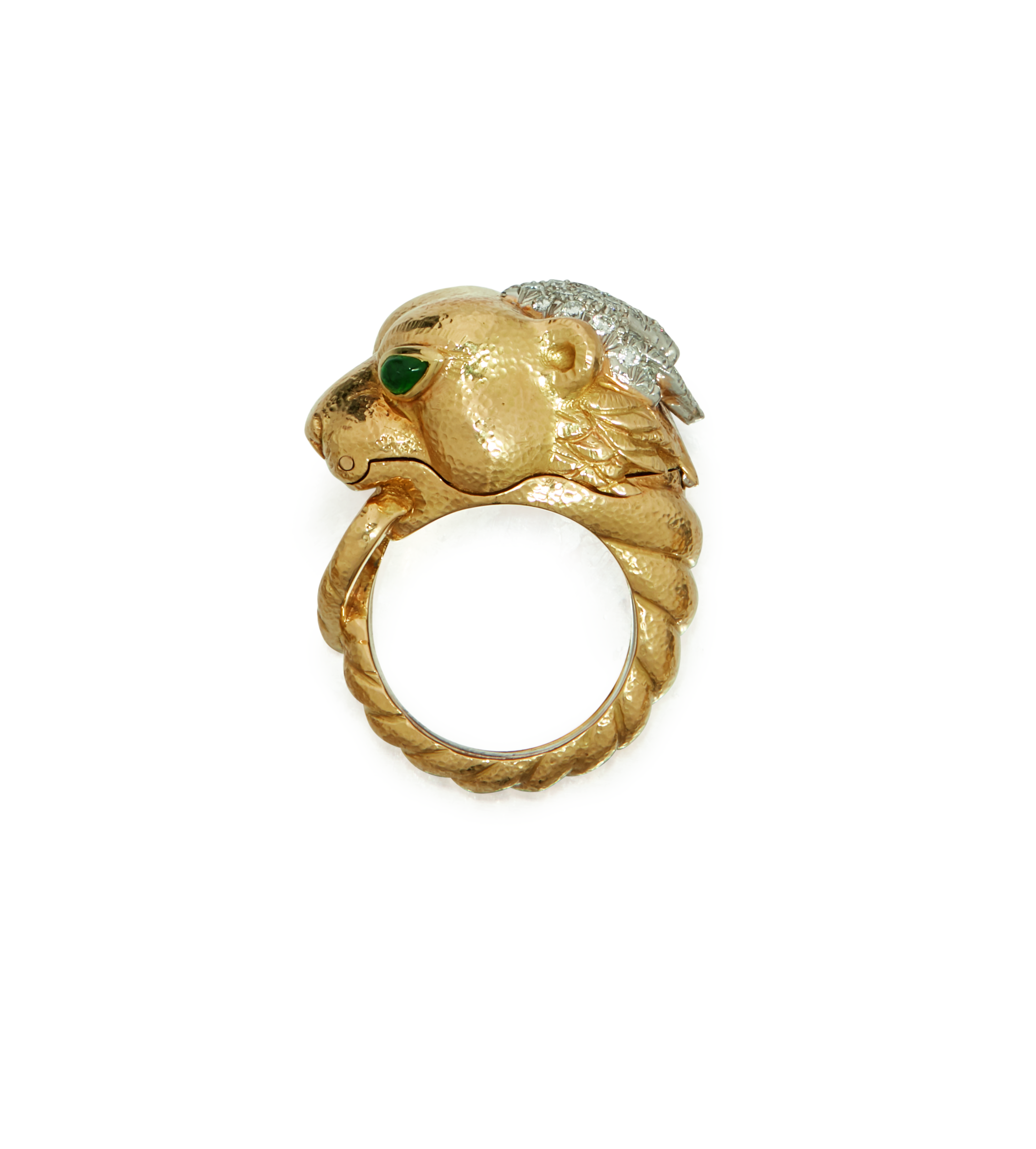 View full screen - View 1 of Lot 17. GOLD, DIAMOND AND EMERALD 'ESTÉE LAUDER LION' RING, DAVID WEBB.