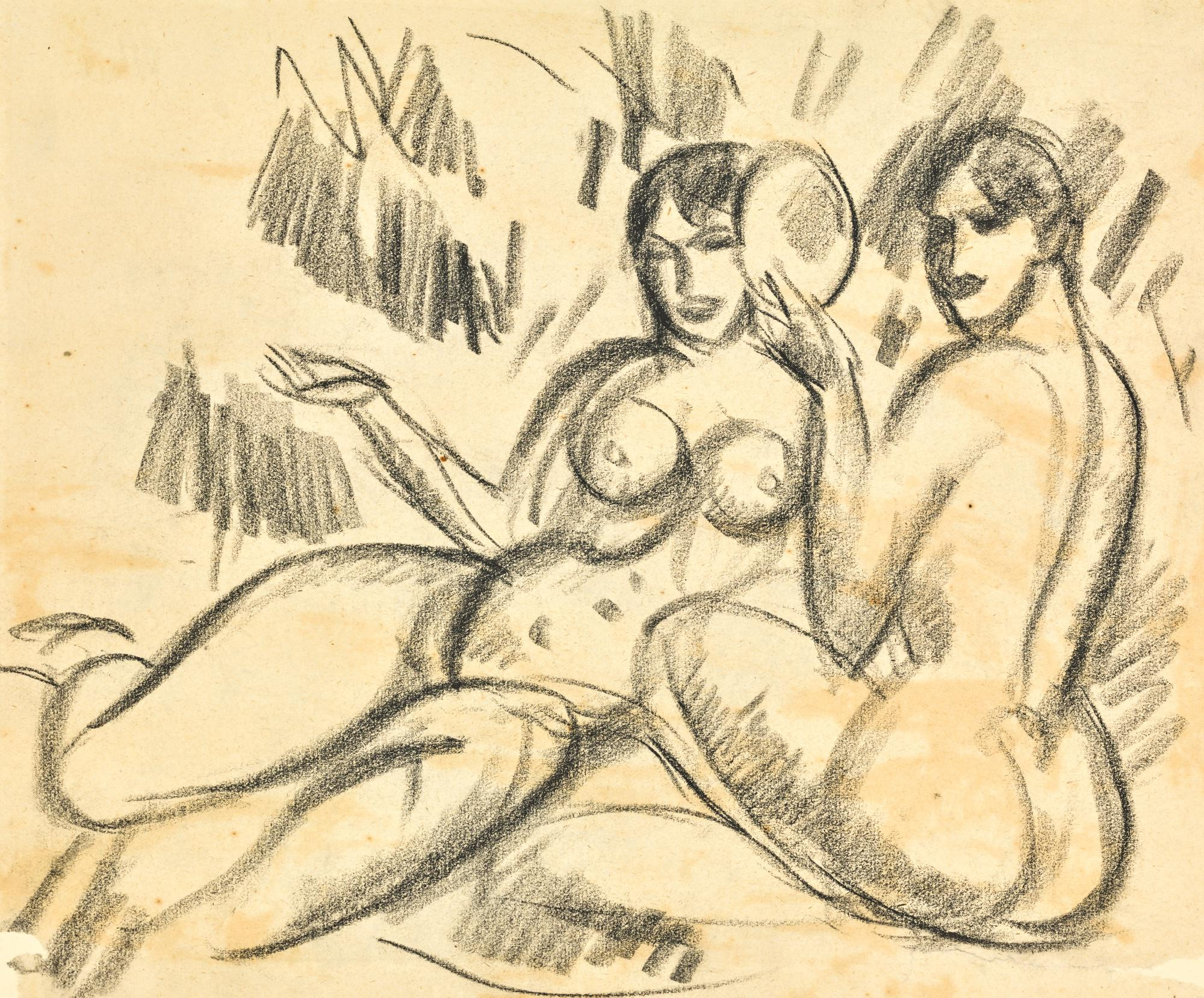 JOHN DUNCAN FERGUSSON, R.B.A. | STUDY OF BATHERS WITH MIRROR
