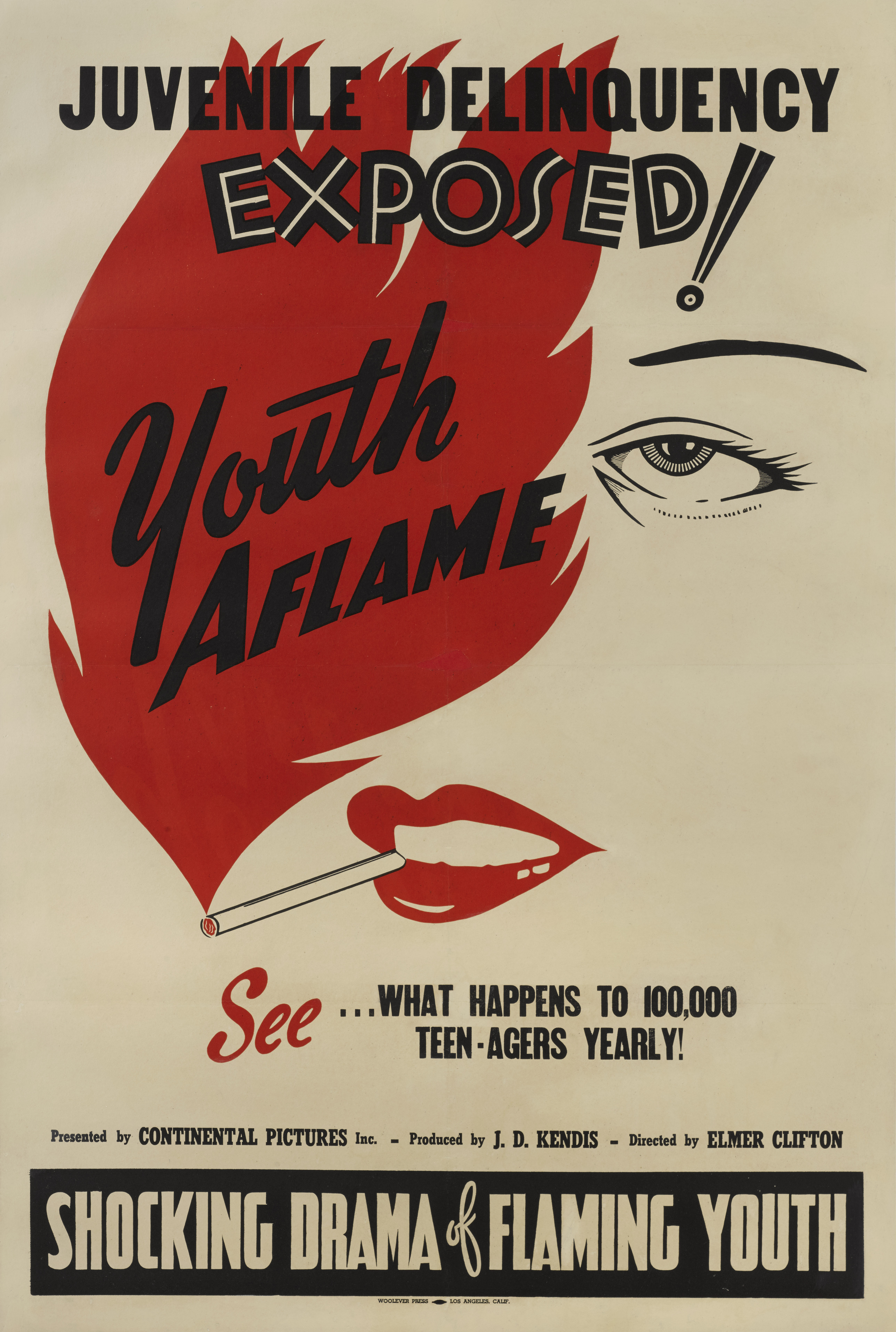 View full screen - View 1 of Lot 178. Youth Aflame (1944) Poster, US.