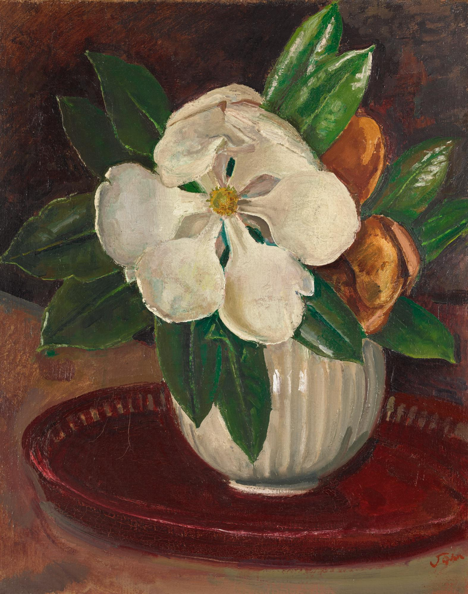 AUGUSTUS JOHN, R.A.   MAGNOLIA WITH LEAVES IN A BOWL