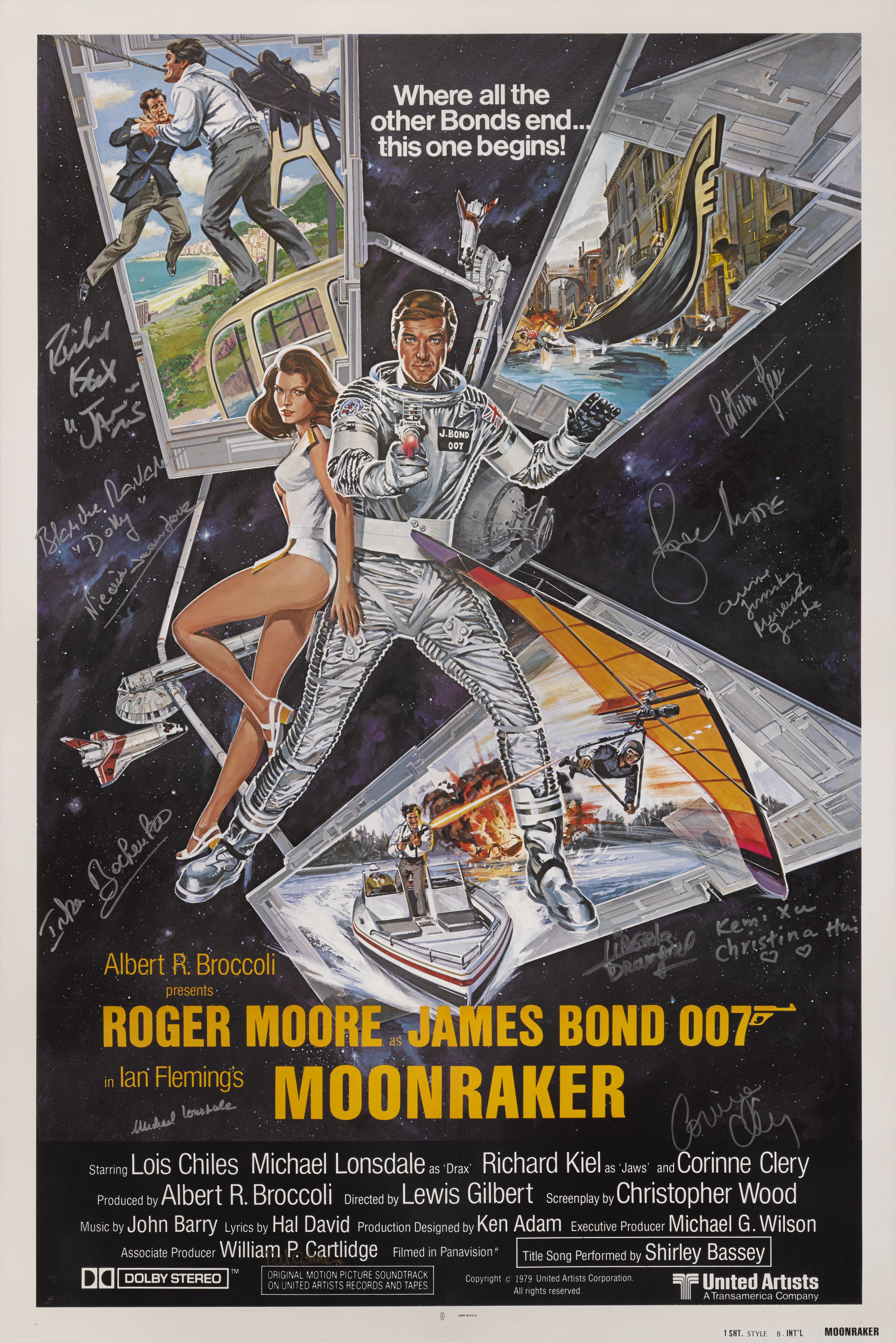 MOONRAKER (1979) POSTER, US, INTERNATIONAL STYLE B, SIGNED BY  ROGER MOORE (PLAYED 007) ET AL.