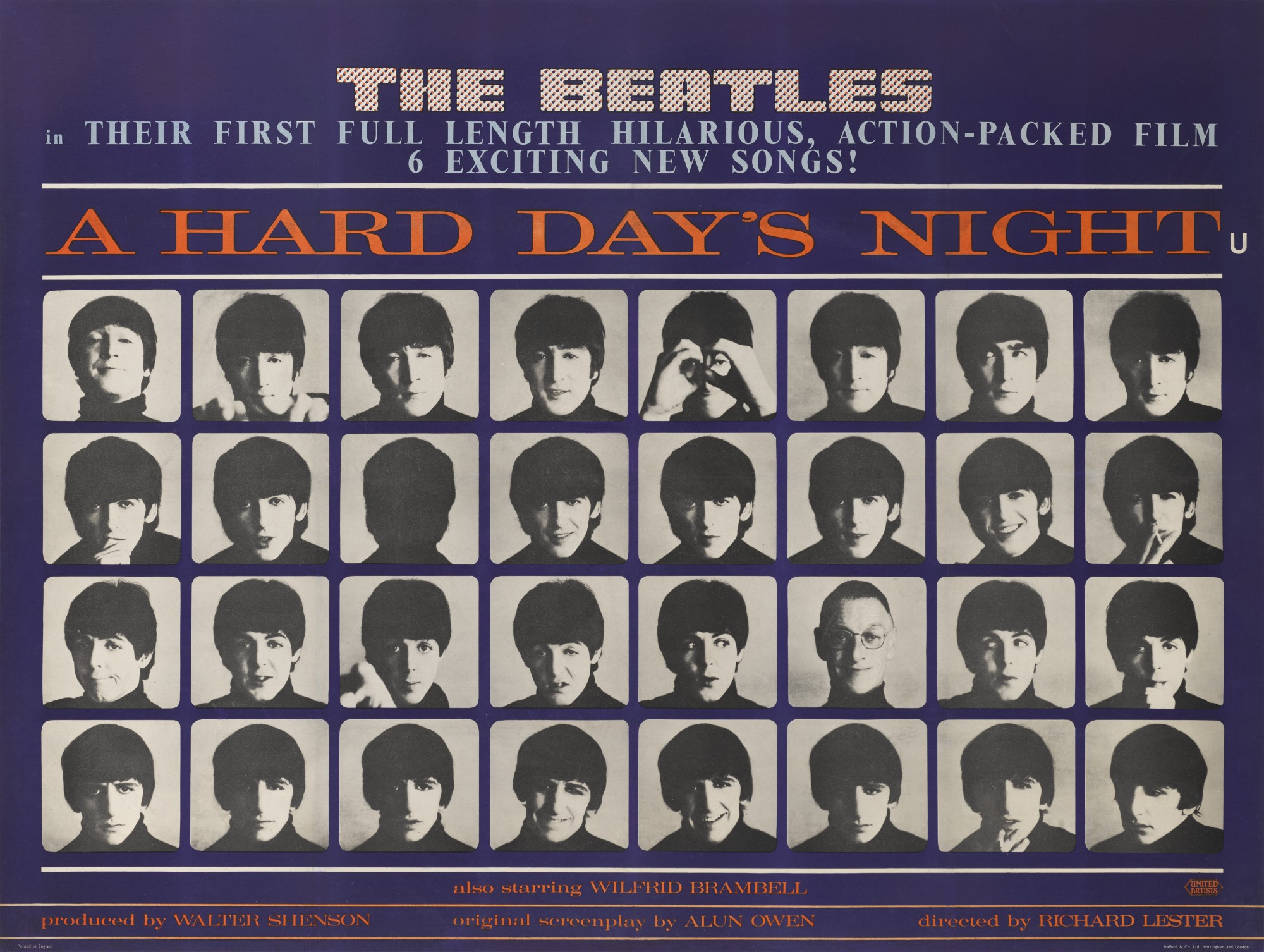 A HARD DAY'S NIGHT (1964) POSTER, BRITISH