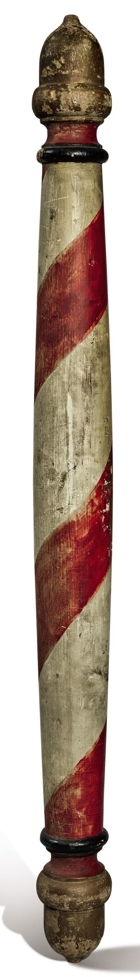 AMERICAN TURNED AND POLYCHROME PAINT-DECORATED PINE BARBER POLE, 19TH CENTURY