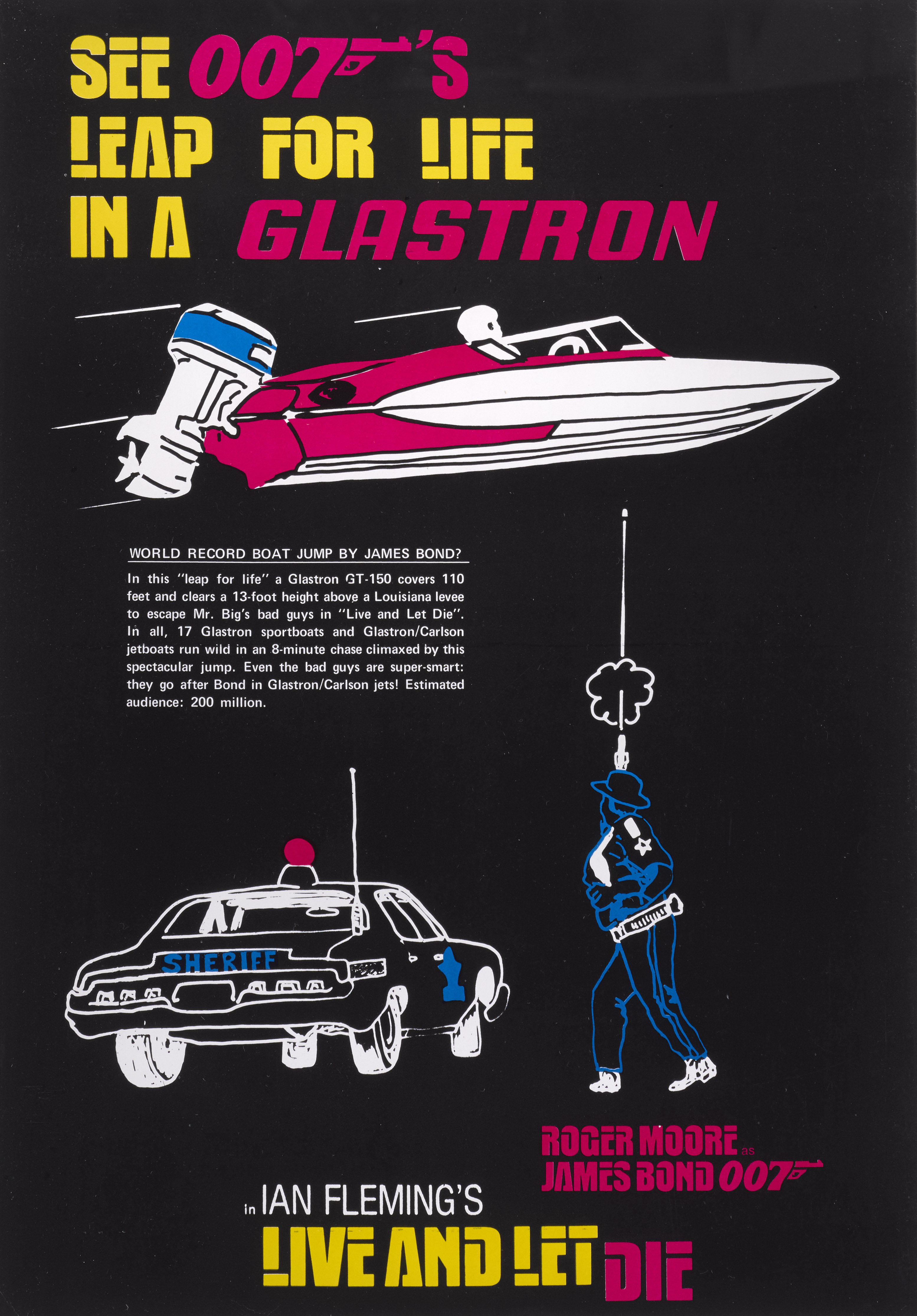 LIVE AND LET DIE (1973) POSTER, US, TIE-IN WITH GLASTRON (BOAT MANUFACTURERS)