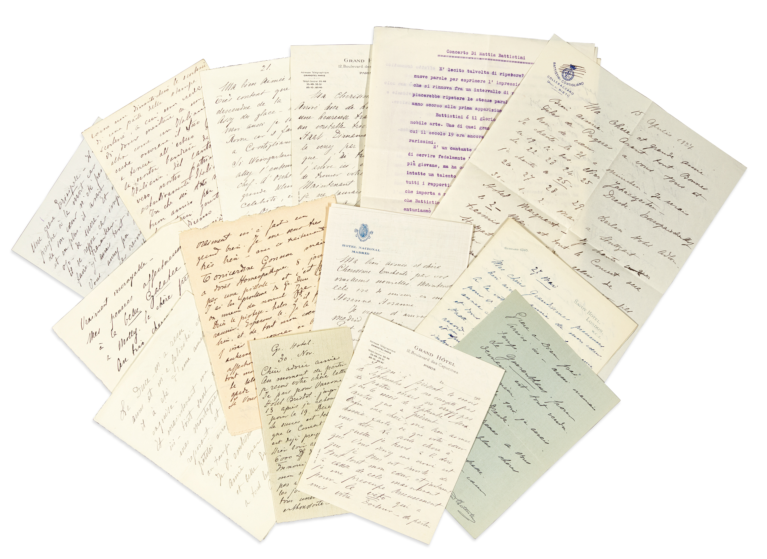 M. Battistini. Series of 22 autograph letters signed, mainly 1924-1927