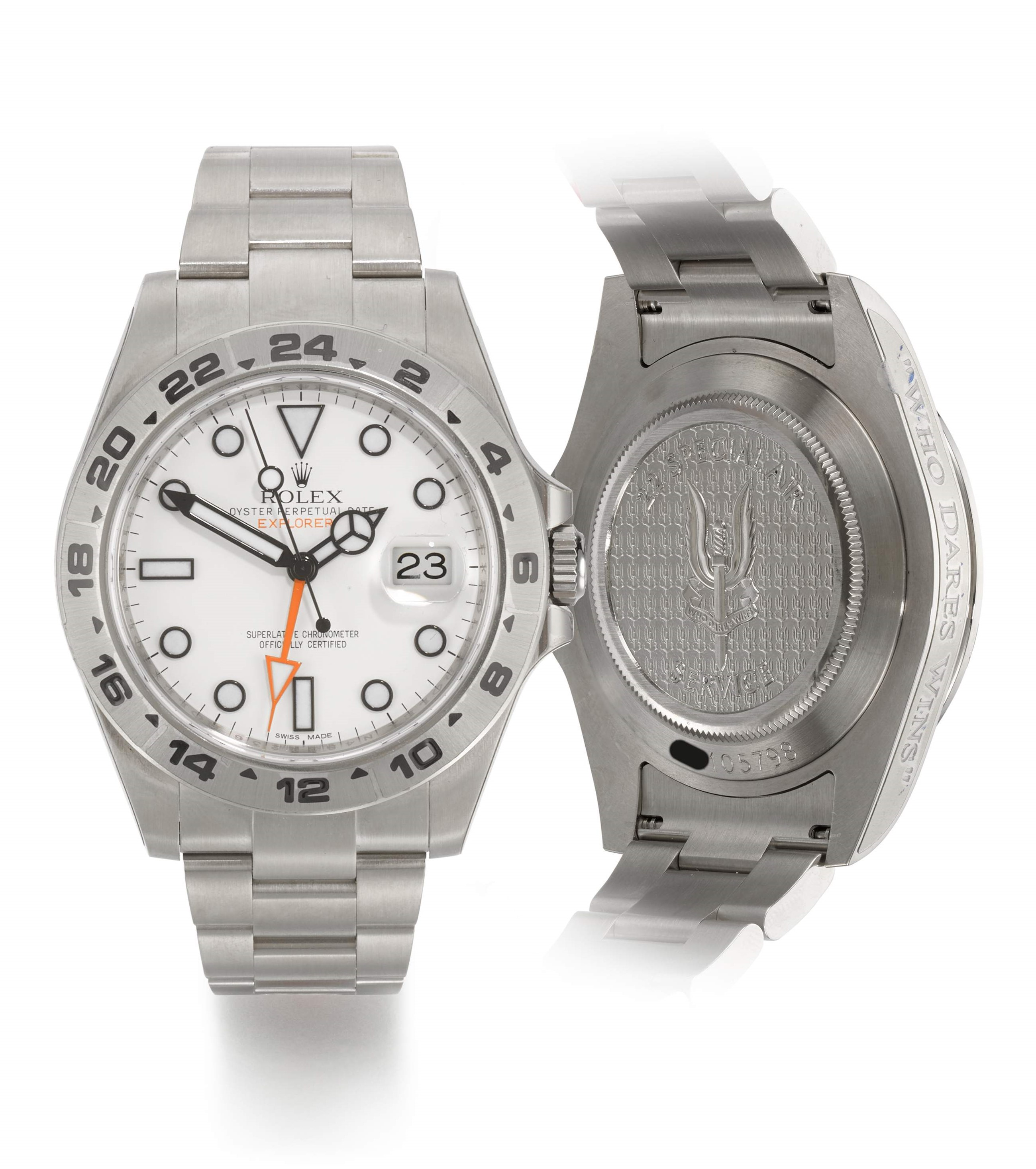 ROLEX |  EXPLORER II, 22 SPECIAL AIR SERVICE, REFERENCE 216570,  MILITARY STAINLESS STEEL DUAL-TIME WRISTWATCH WITH DATE AND BRACELET,  CIRCA 2012