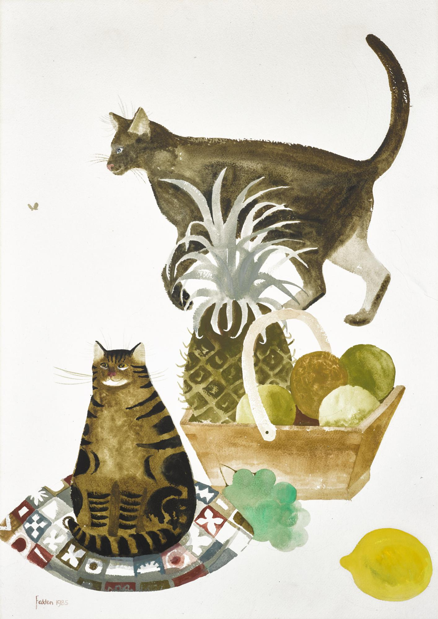 MARY FEDDEN, R.A. | TWO CATS AND A BASKET OF FRUIT