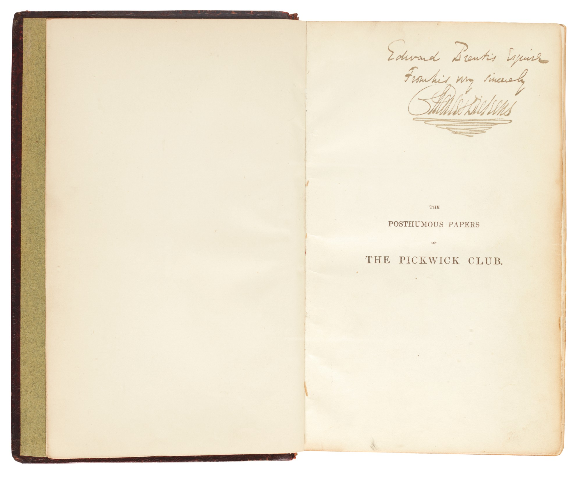 Dickens, The Posthumous Papers of the Pickwick Club, 1837, first book edition, presentation copy inscribed to Prentis