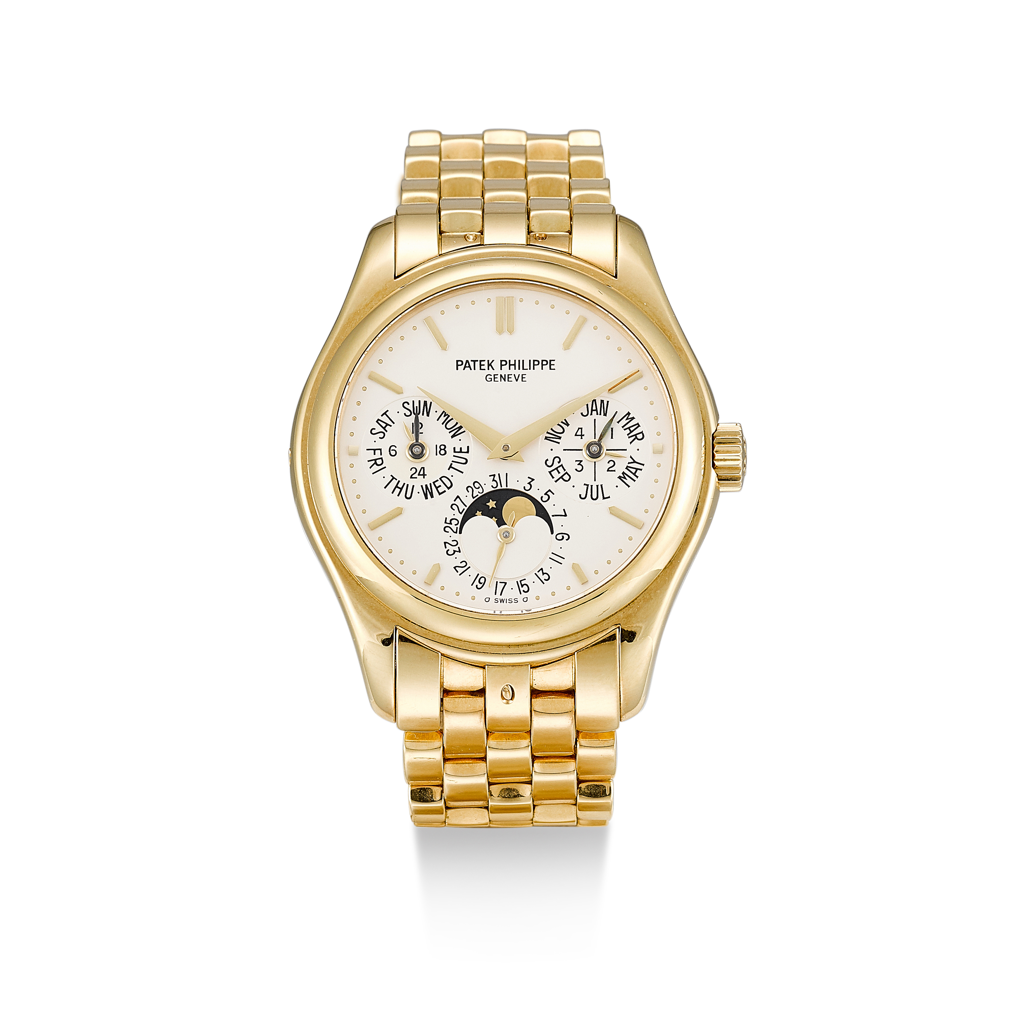 View full screen - View 1 of Lot 138. PATEK PHILIPPE     REFERENCE 5136,  A YELLOW GOLD PERPETUAL CALENDAR WRISTWATCH WITH MOON PHASES, 24 HOURS AND LEAP YEAR INDICATION, CIRCA 2008.
