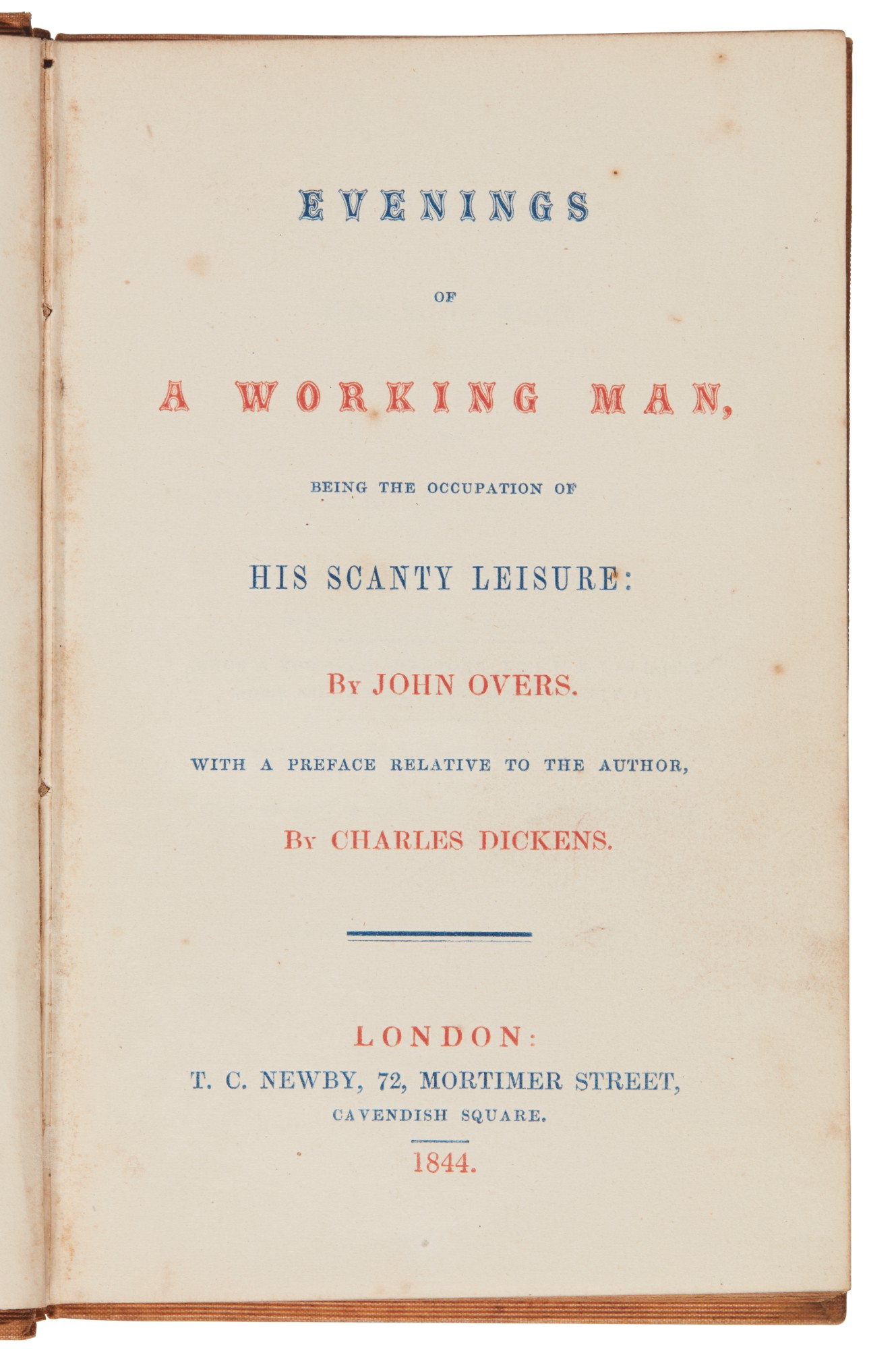 Overs--[Dickens], Evenings of a Working Man, 1844, first edition