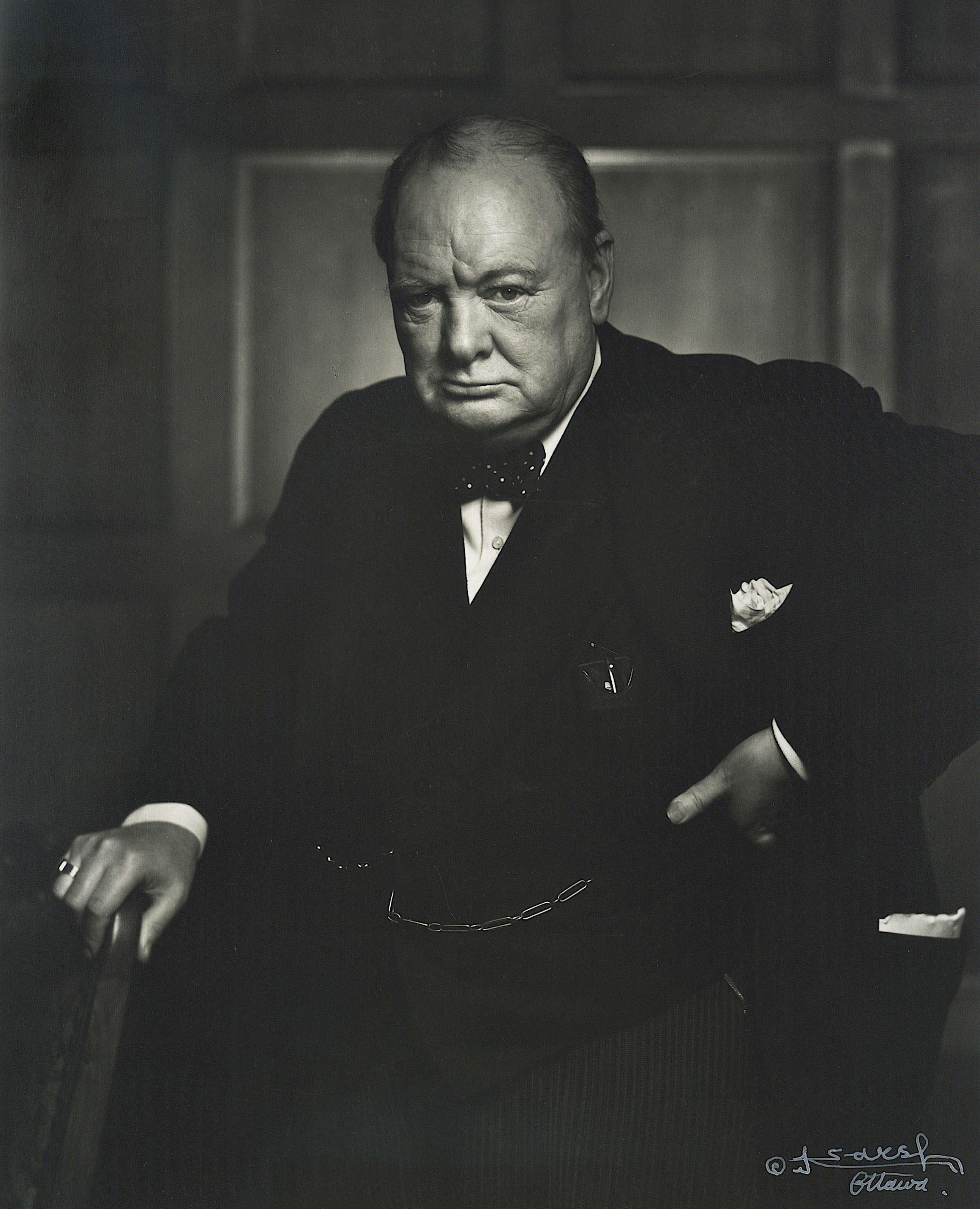 View full screen - View 1 of Lot 58.  [Winston Churchill] — Yousuf Karsh, photographer | Vintage silver gelatin print, signed by Karsh, 1941 [printed ca. 1951].