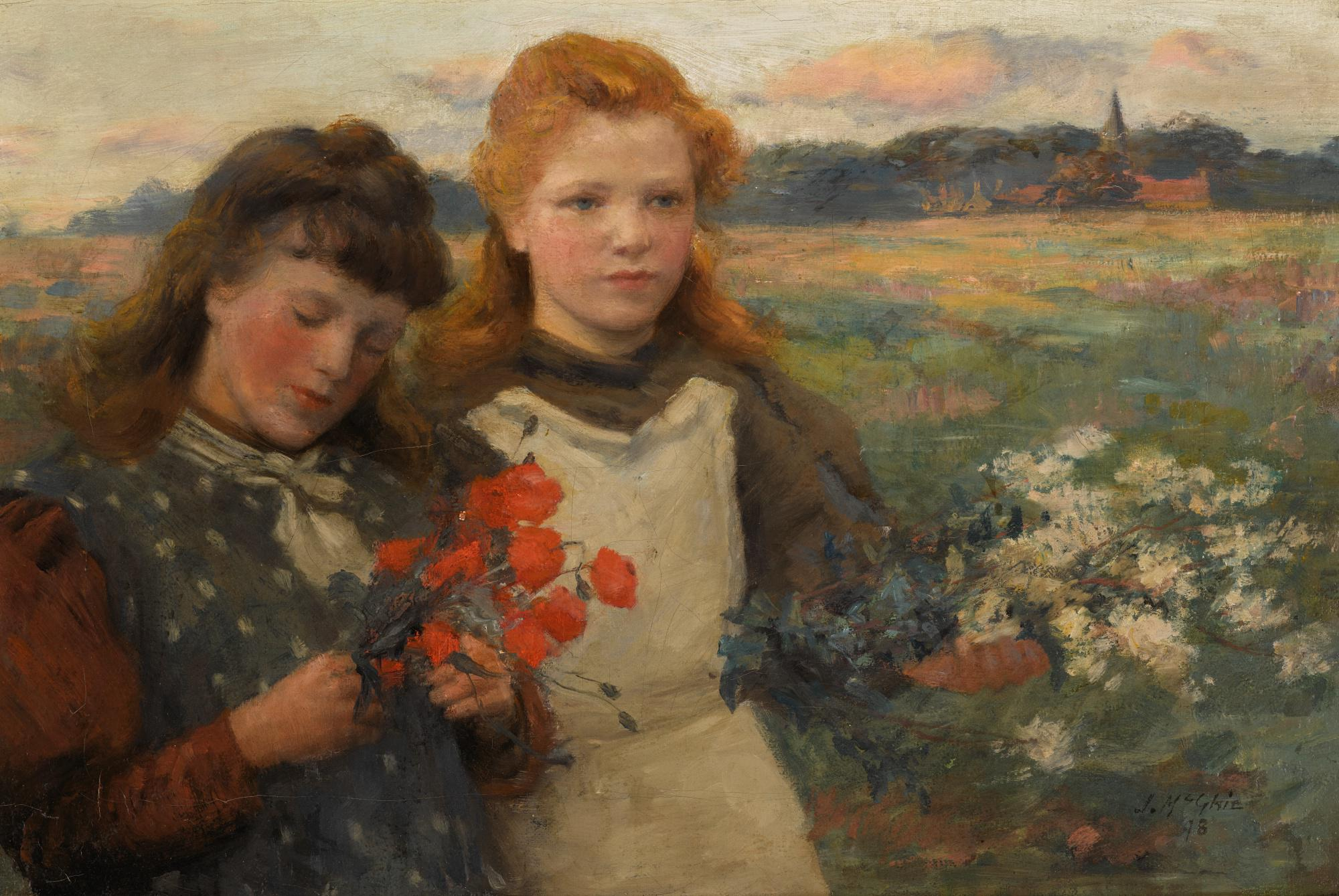 JOHN MCGHIE, R.S.A., R.S.W. | PICKING WILD FLOWERS