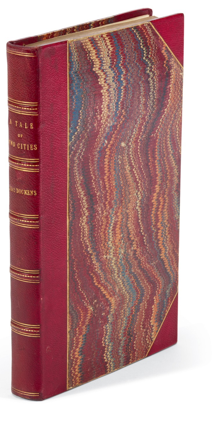 Dickens, A Tale of Two Cities, 1858, presentation copy in presentation binding inscribed to Mrs Cowden Clarke, letter