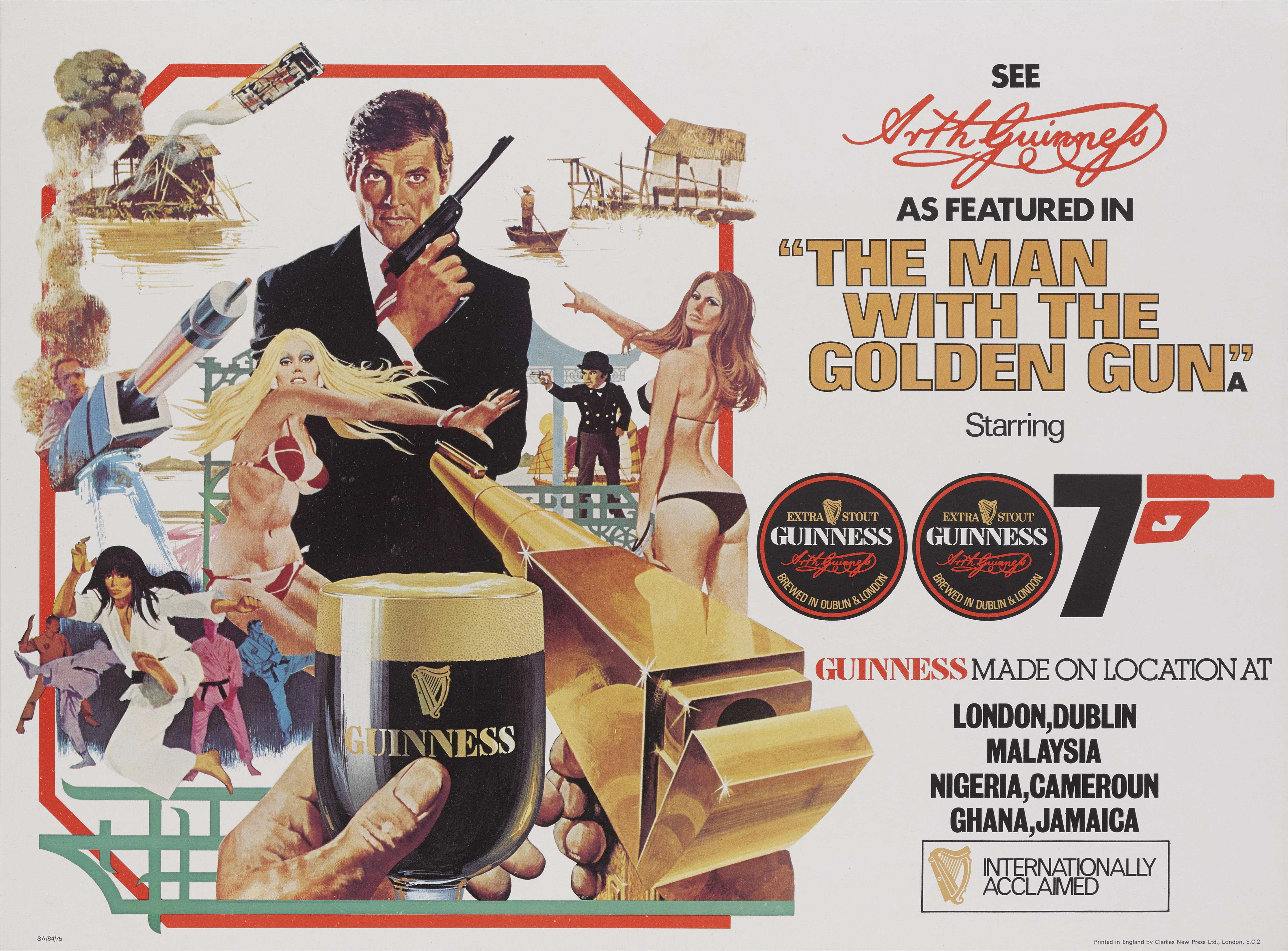 THE MAN WITH THE GOLDEN GUN (1974) POSTER, BRITISH, TIE-IN WITH GUINNESS