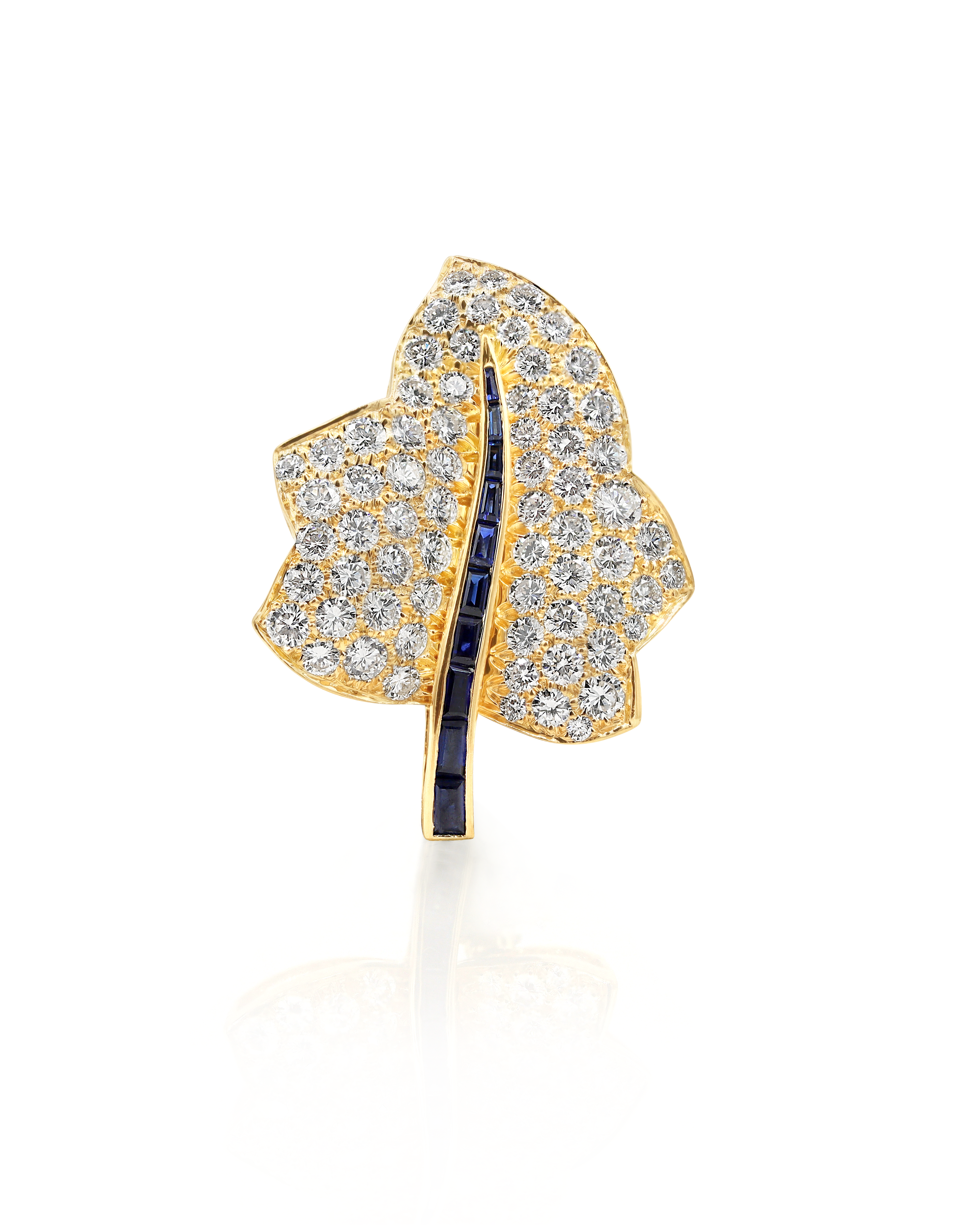 View full screen - View 1 of Lot 16. Sapphire and Diamond Maple Leaf Brooch.