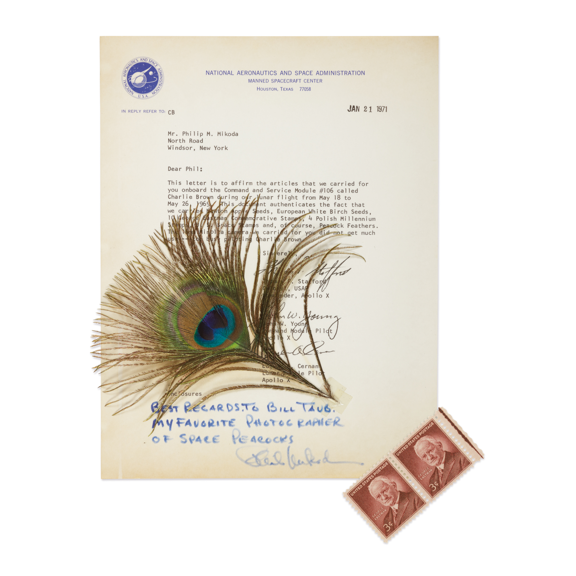 [APOLLO 10]. FLOWN PEACOCK FEATHER, MOUNTED ON LETTER SIGNED BY STAFFORD, YOUNG, & CERNAN