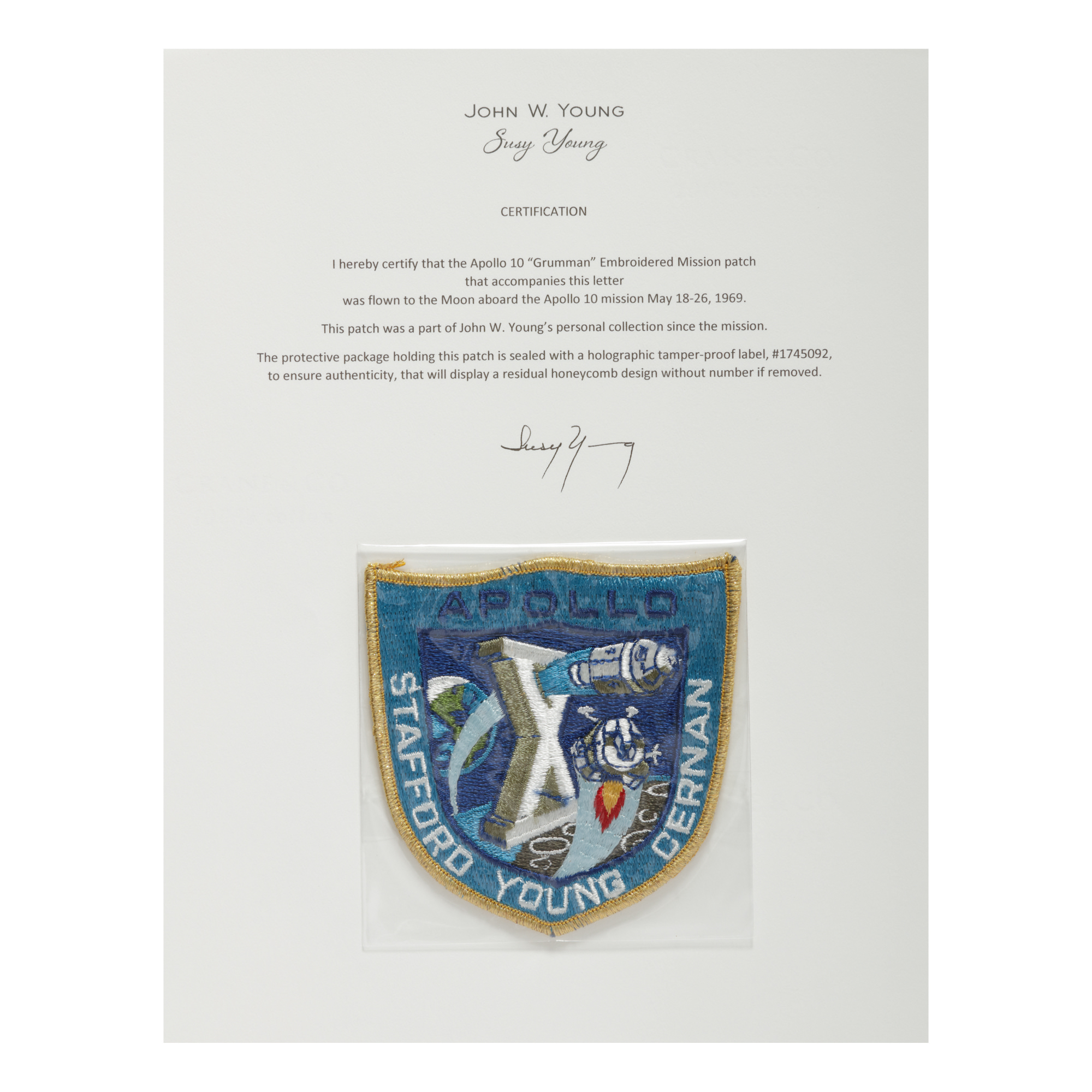 """[APOLLO 10]. FLOWN ON APOLLO 10. """"GRUMMAN"""" EMBROIDERED MISSION INSIGNIA PATCH FROM THE COLLECTION OF JOHN YOUNG"""