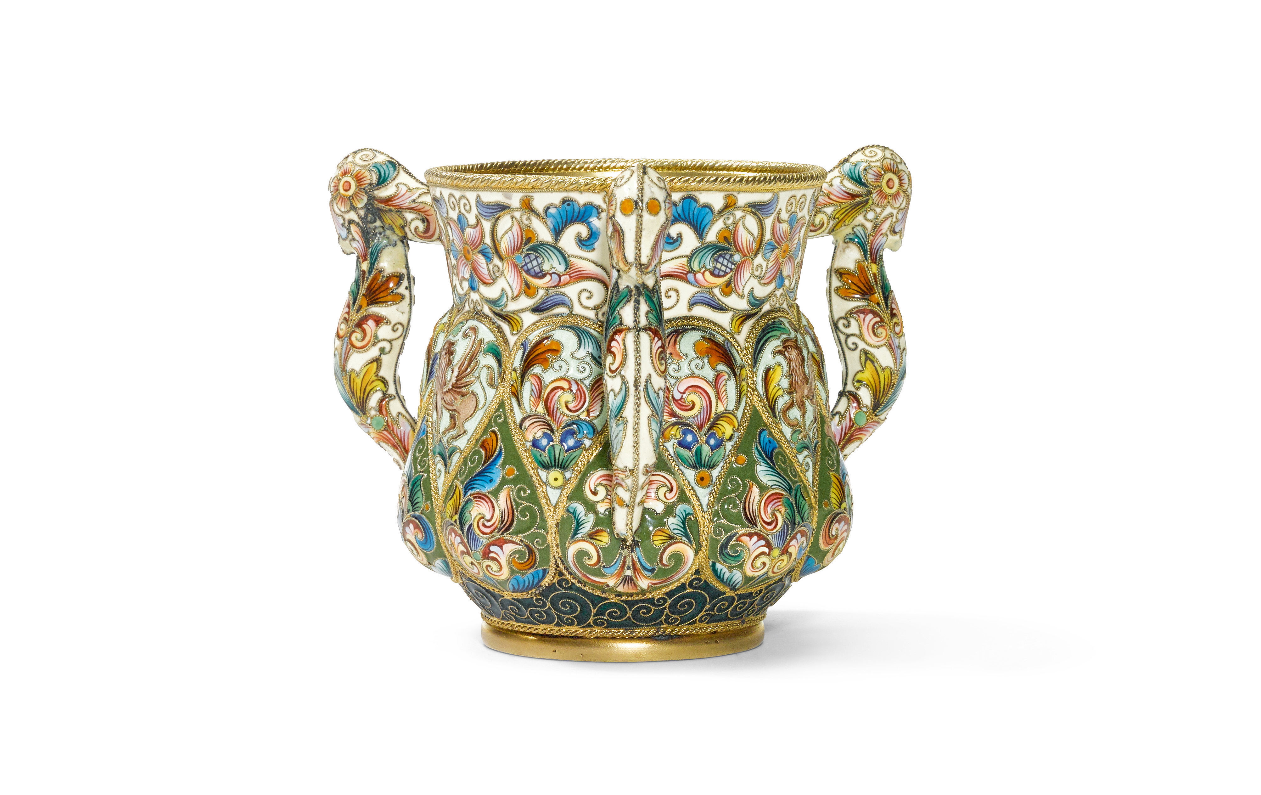 View 1 of Lot 259. A silver-gilt and cloisonné enamel three-handled cup, Feodor Rückert, Moscow, 1899-1908.