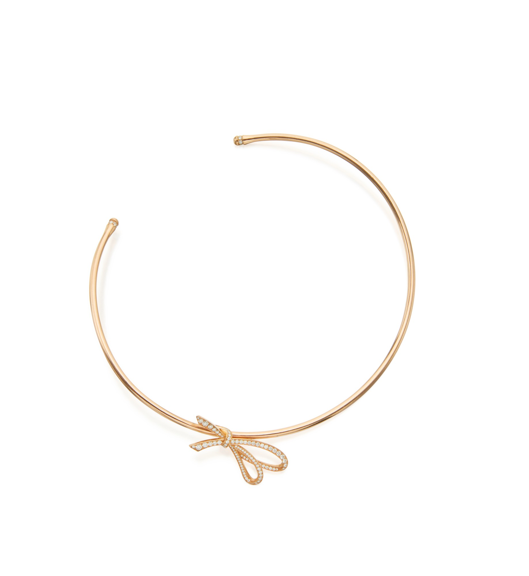 PINK GOLD AND DIAMOND 'TIFFANY BOW' COLLAR-NECKLACE, TIFFANY & CO.
