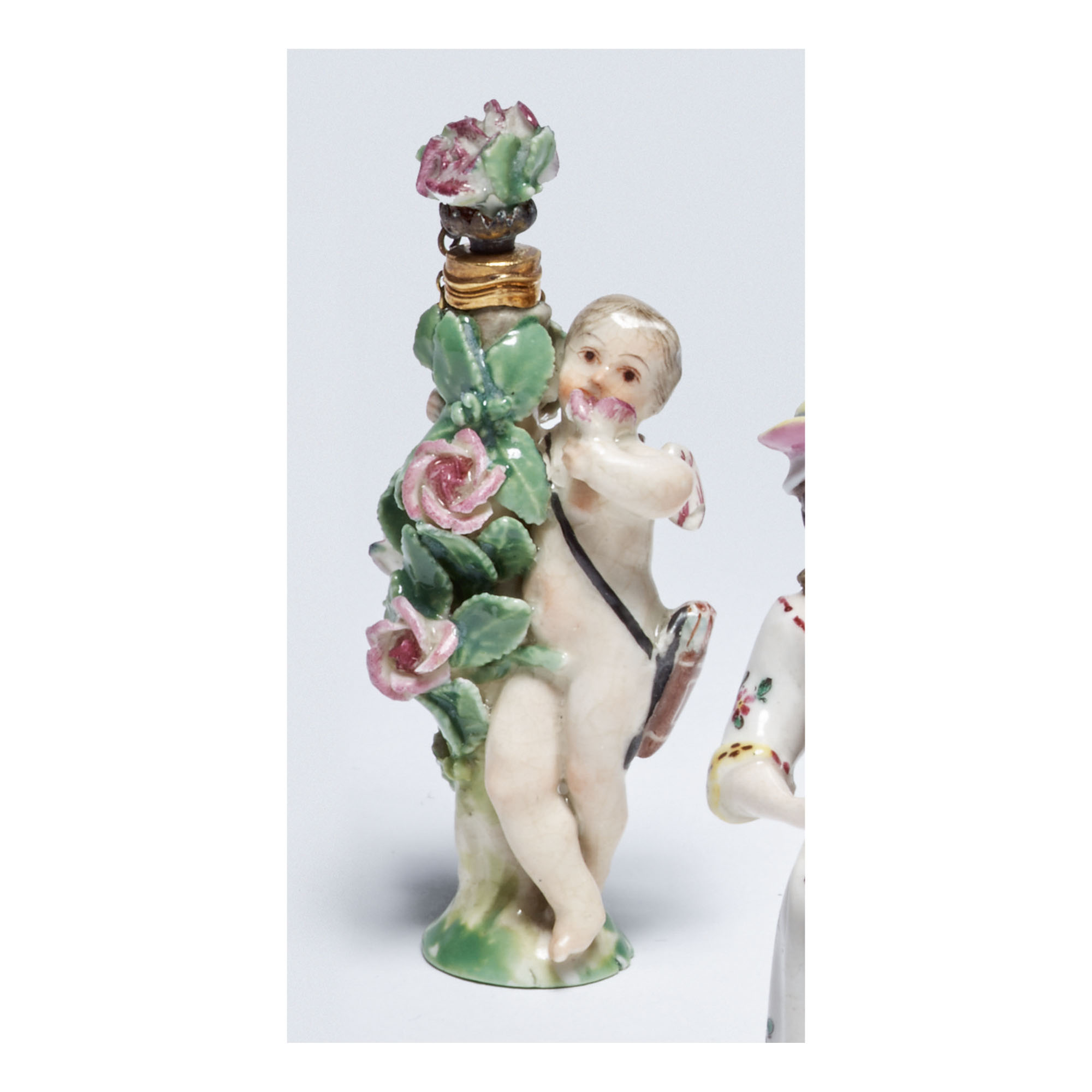 A CHELSEA PORCELAIN SCENT BOTTLE AND STOPPER CIRCA 1760
