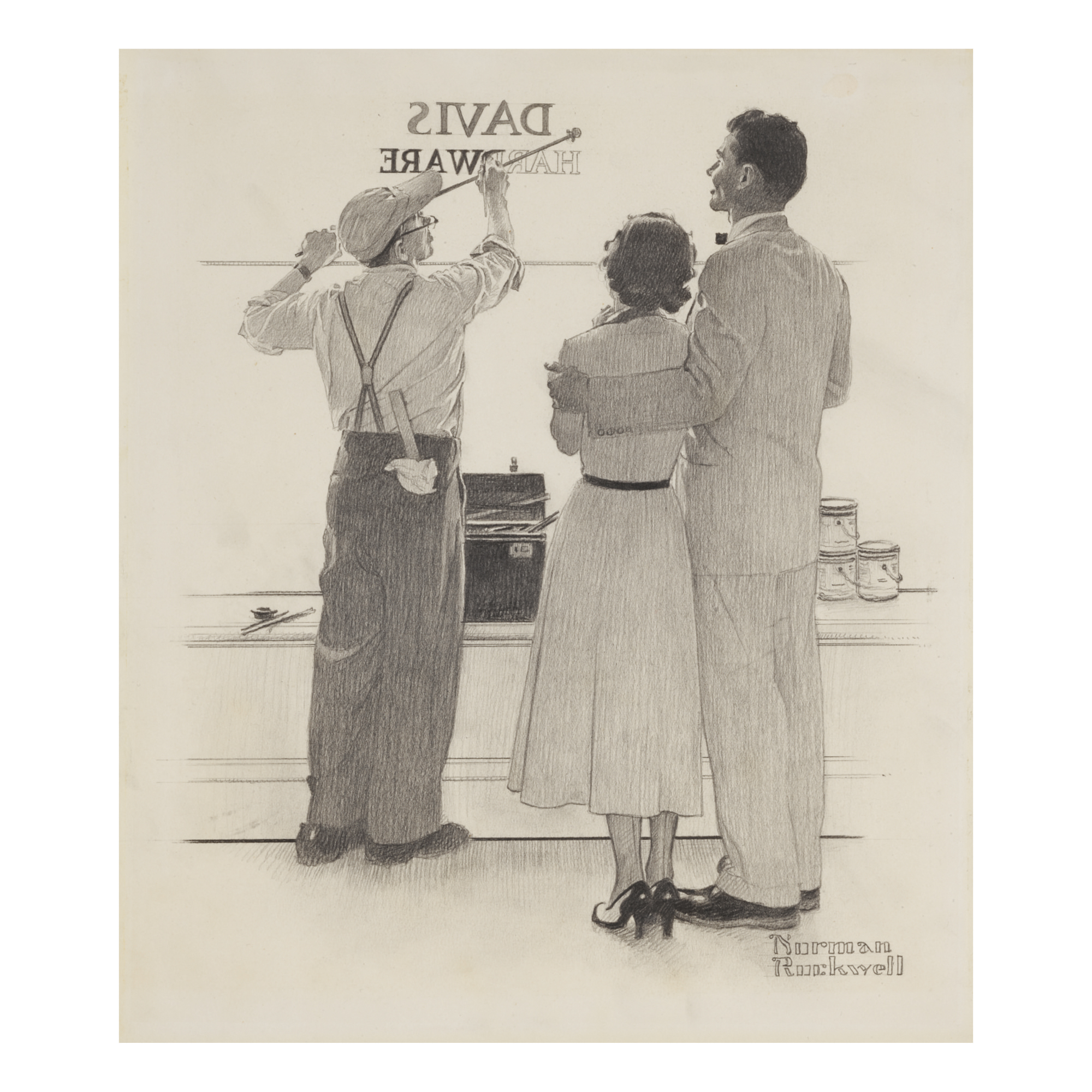 NORMAN ROCKWELL   SEEING YOUR NAME IN LIGHTS