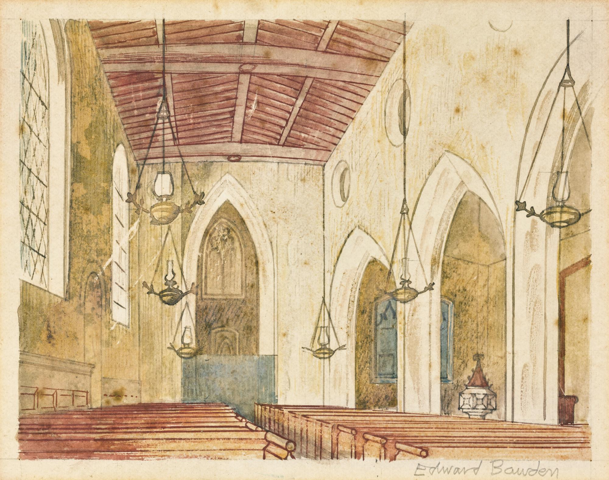 EDWARD BAWDEN, R.A. | AN ENGLISH CHURCH INTERIOR