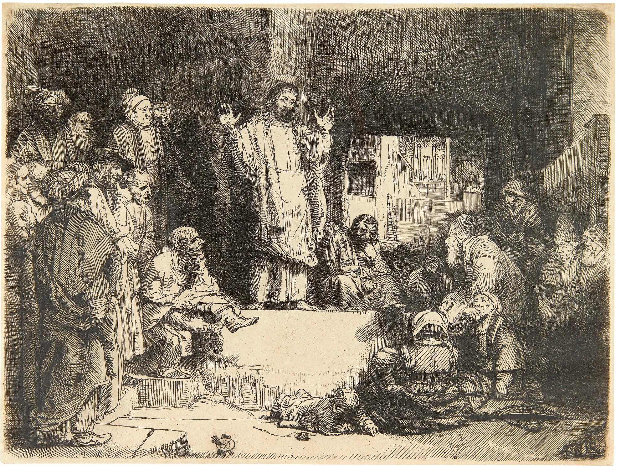REMBRANDT HARMENSZ. VAN RIJN   CHRIST PREACHING ('LA PETITE TOMBE') (B., HOLL. 67; NEW HOLL. 298; H. 256)