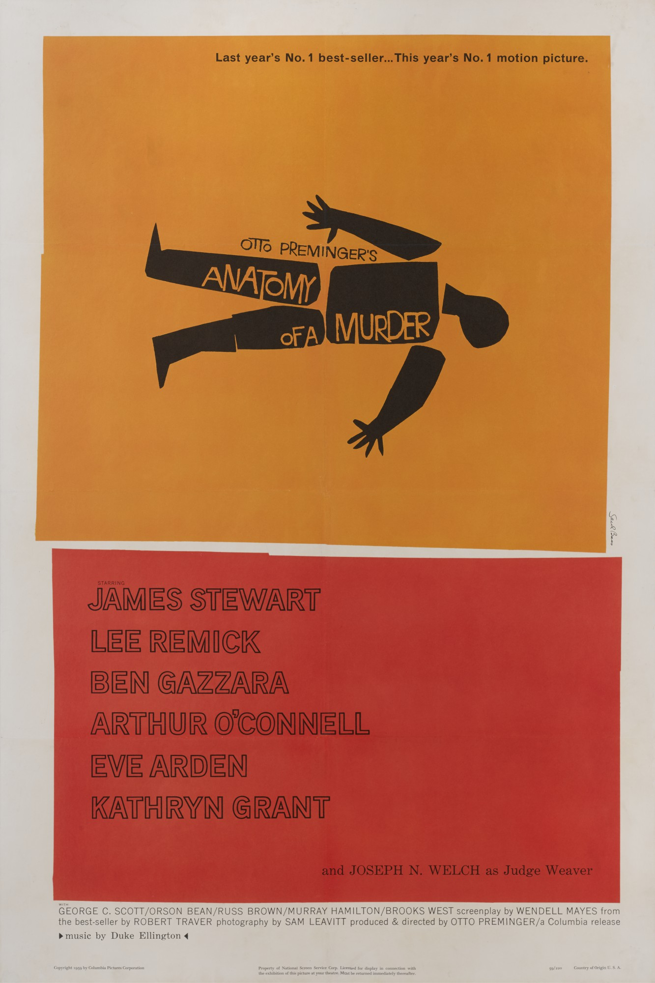 ANATOMY OF A MURDER (1959) POSTER, US