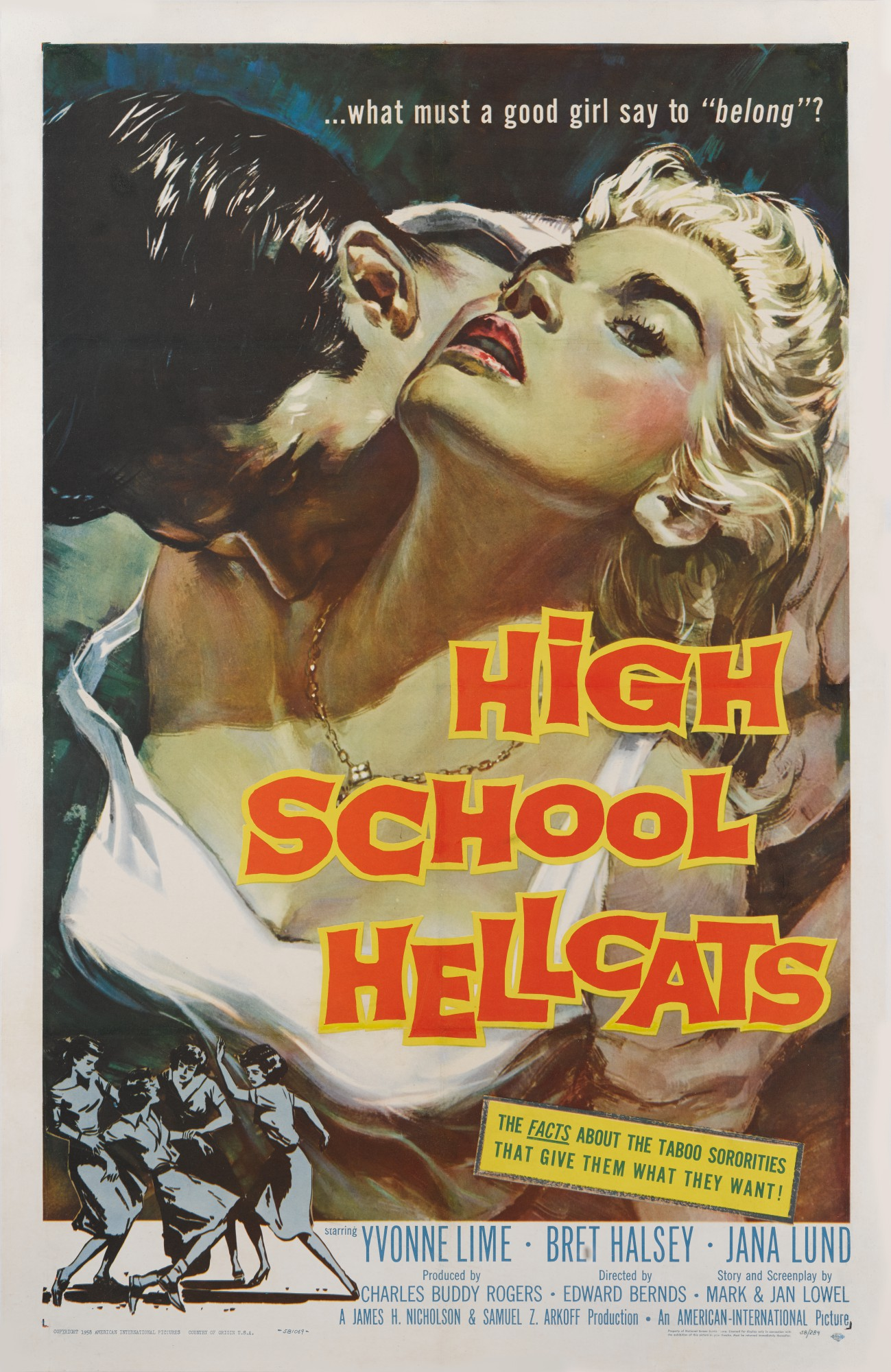HIGH SCHOOL HELLCATS (1958) POSTER, US
