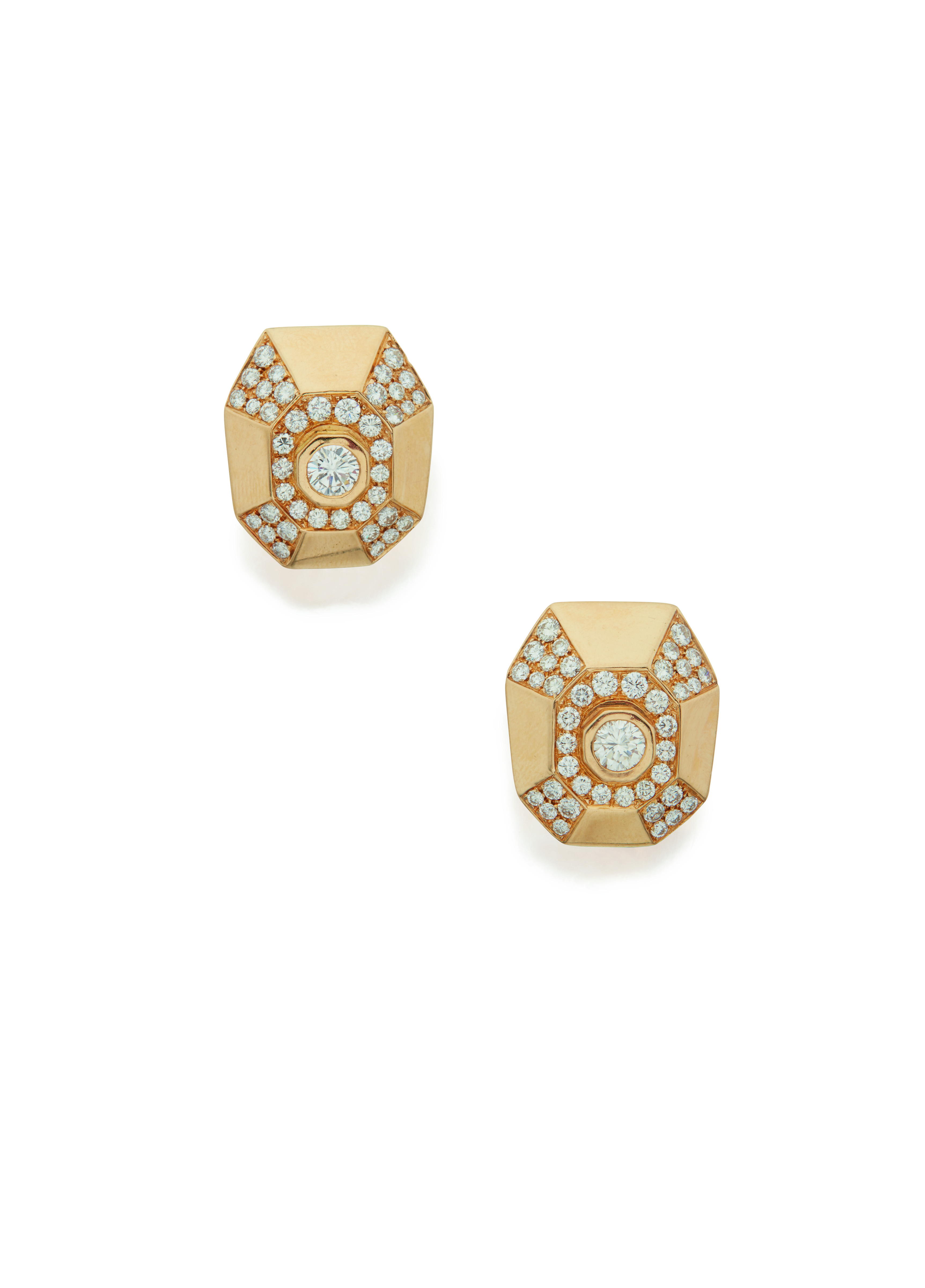 View 1 of Lot 41. PAIR OF GOLD AND DIAMOND EARCLIPS, CARTIER.