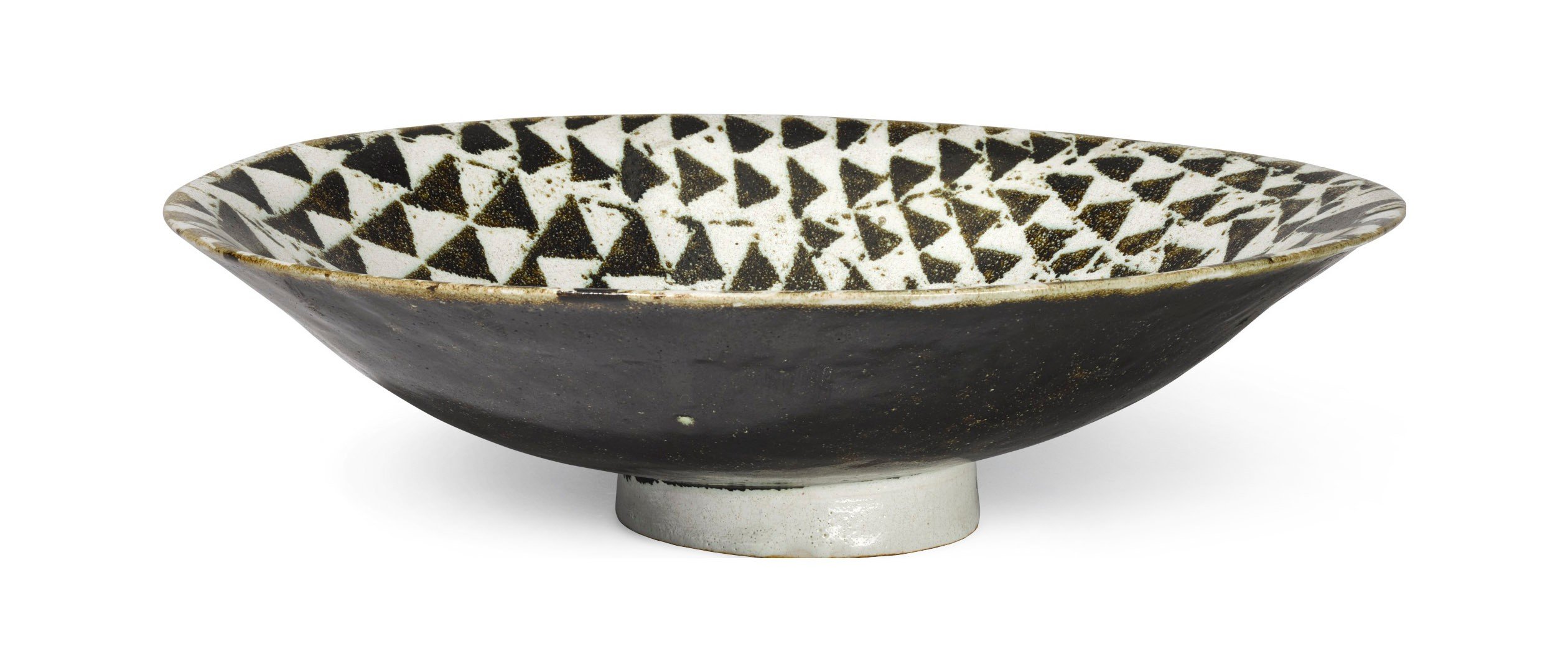 View full screen - View 1 of Lot 205. JAMES TOWER   GREENISH BLACK & WHITE BOWL.