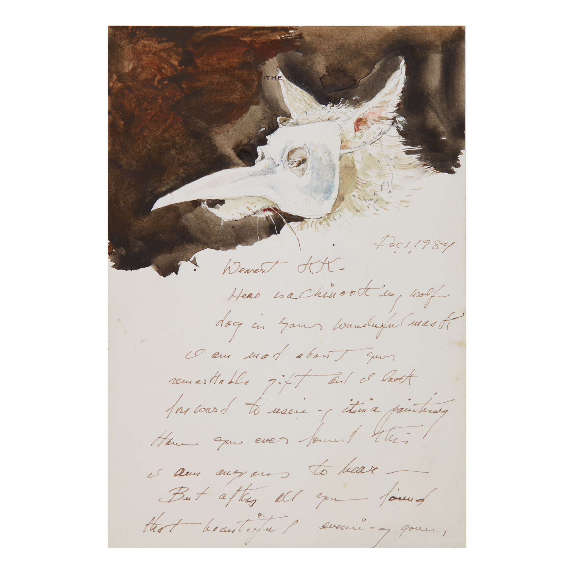 ANDREW WYETH | LETTER WITH NOME IN VENETIAN MASK | American