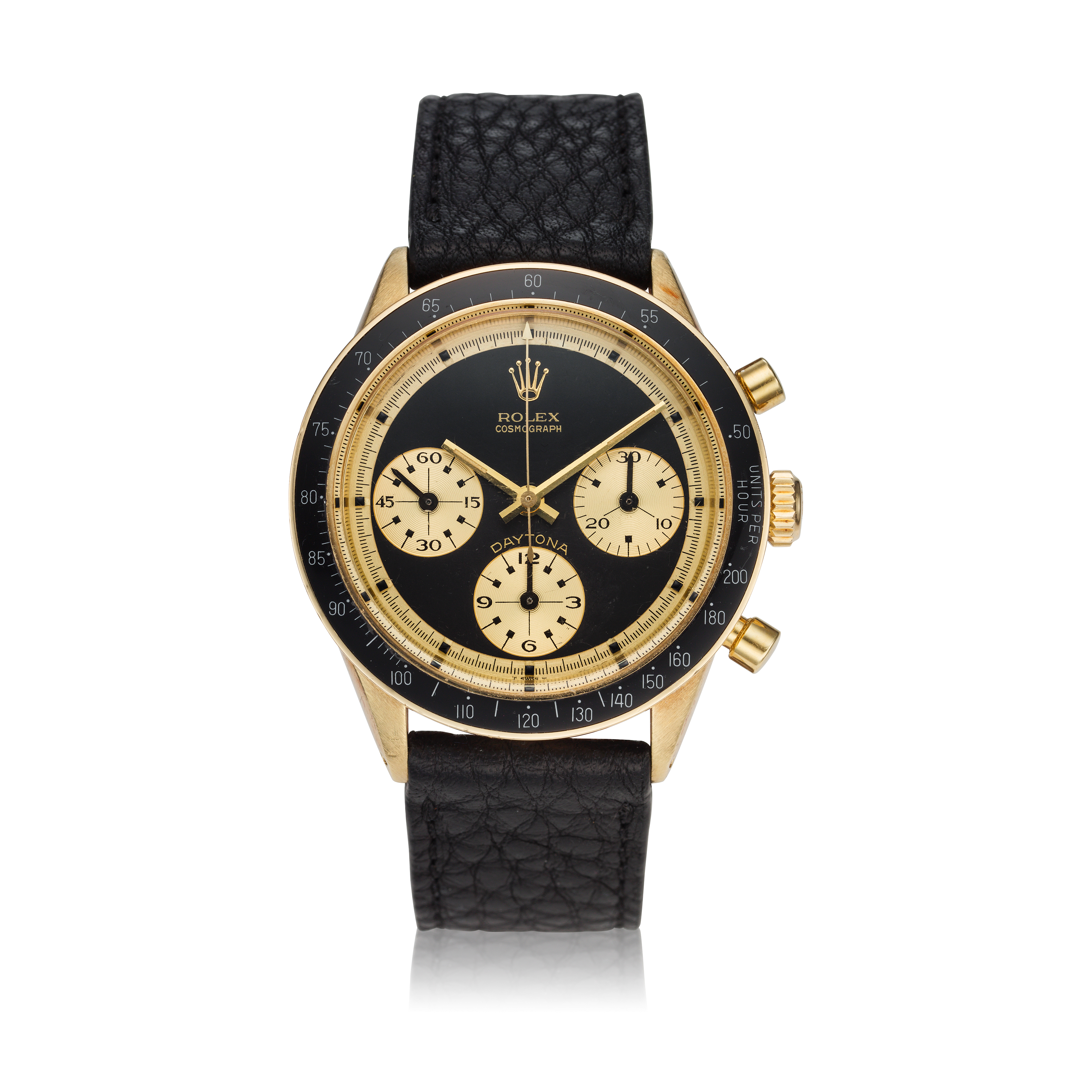 View full screen - View 1 of Lot 220. Reference 6241 Daytona Paul Newman 'John Player Special'  A yellow gold chronograph wristwatch, Circa 1968.