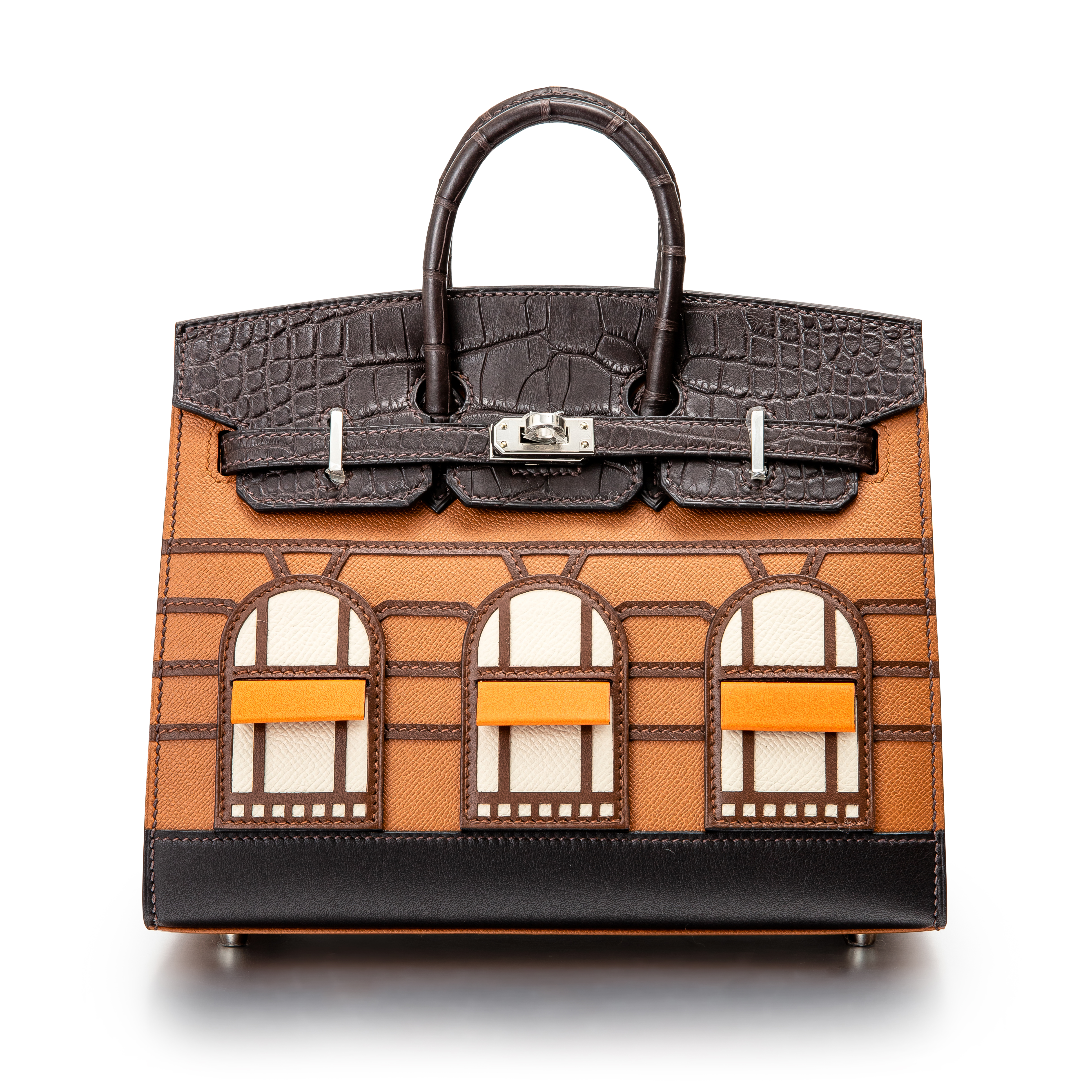 View full screen - View 1 of Lot 8513. Limited Edition Birkin Faubourg 20cm in Madame, Matte Crocodile, Sombrero, Epsom and Swift Leather with Palladium Hardware, 2020.