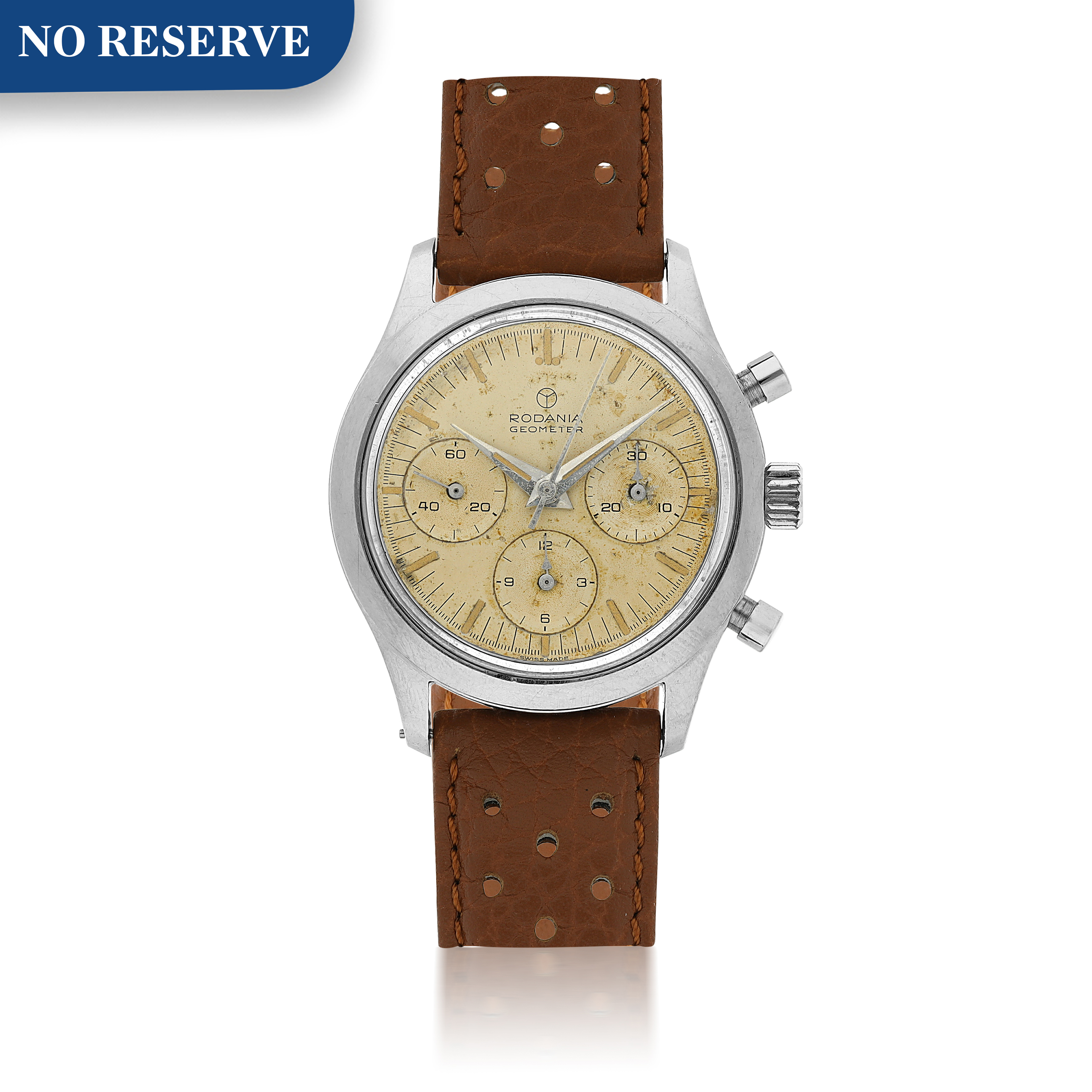 View full screen - View 1 of Lot 212. RODANIA  | REFERENCE 5621H A STAINLESS STEEL CHRONOGRAPH WRISTWATCH, CIRCA 1965.